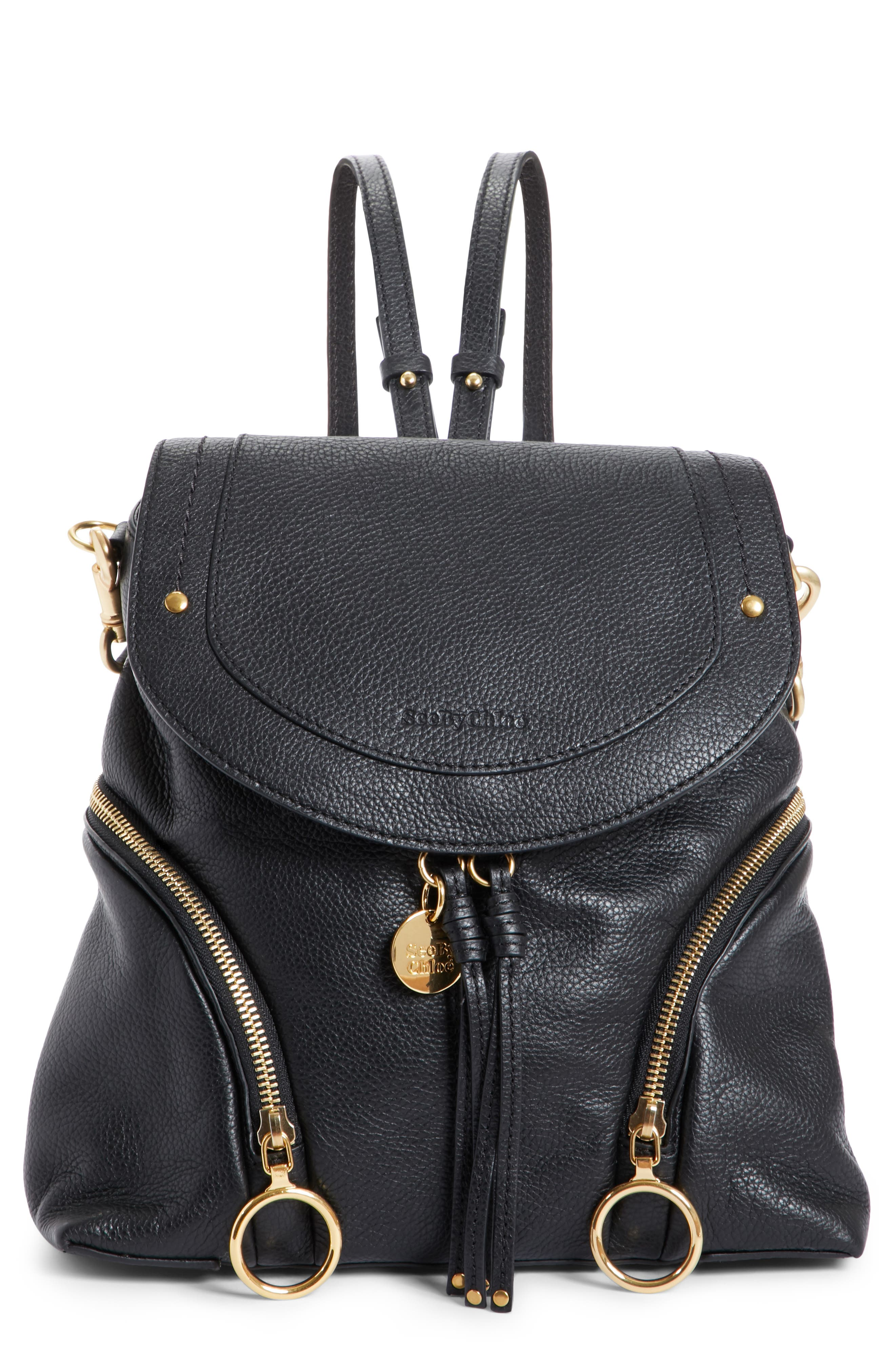 Olga Large Leather Backpack,                             Main thumbnail 1, color,                             BLACK