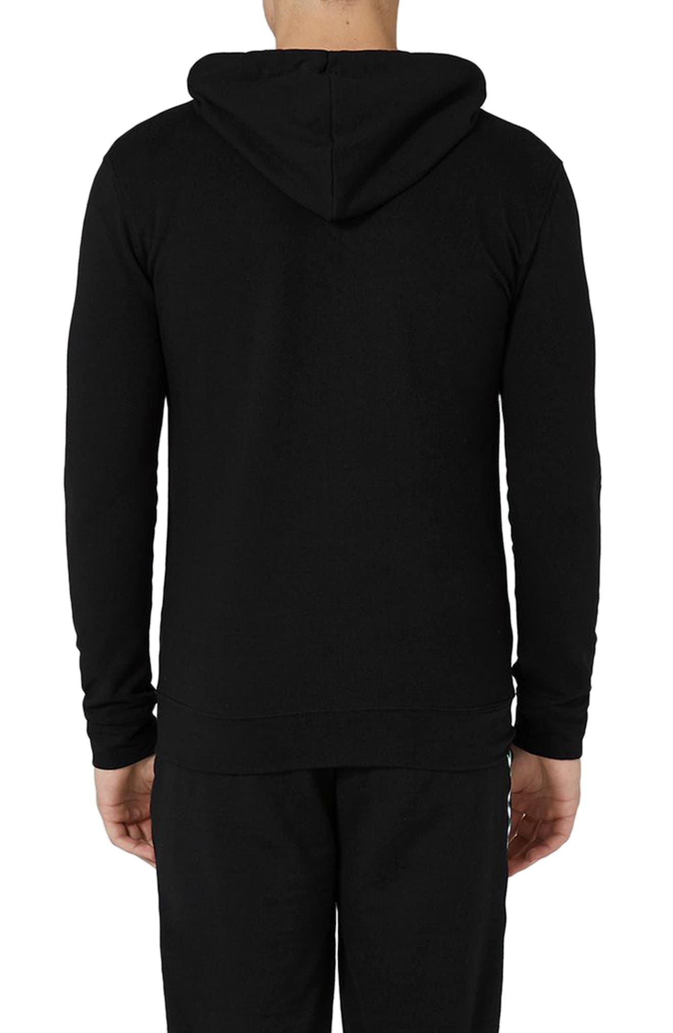 Muscle Fit Zip Through Hoodie,                             Alternate thumbnail 2, color,                             001
