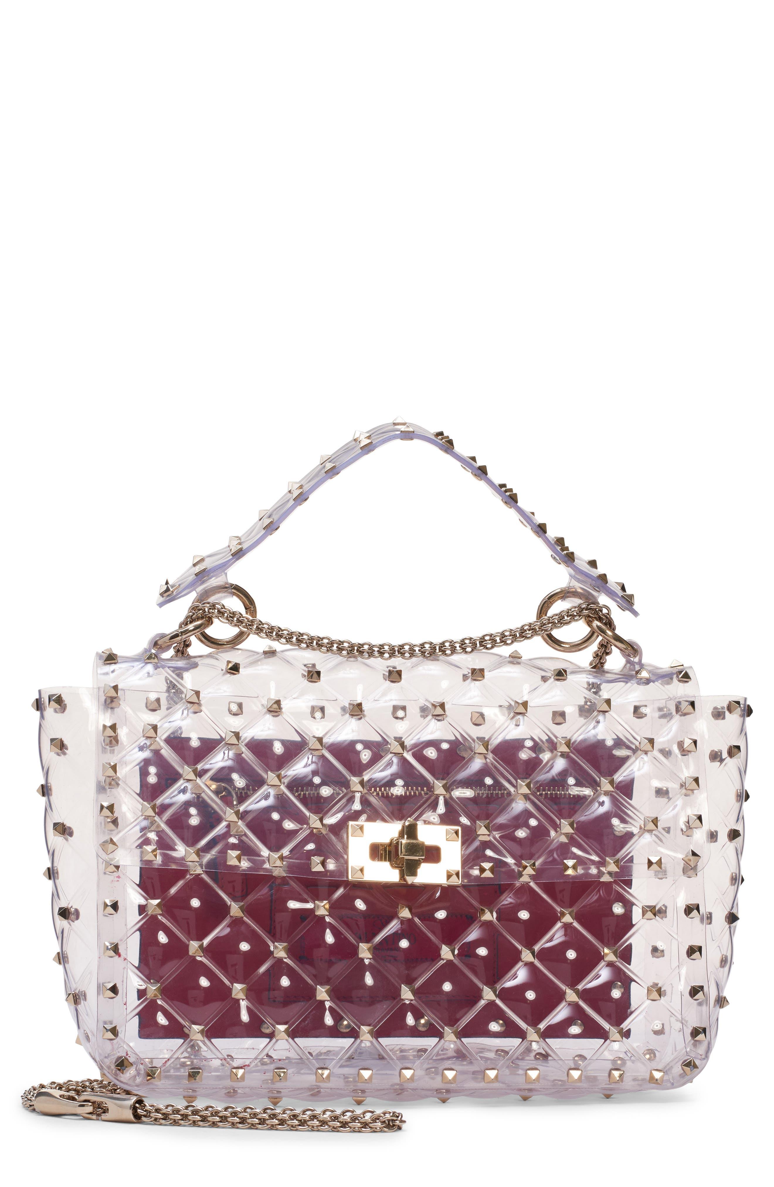 Rockstud Transparent Shoulder Bag, Main, color, TRASPARENTE/ GOLD
