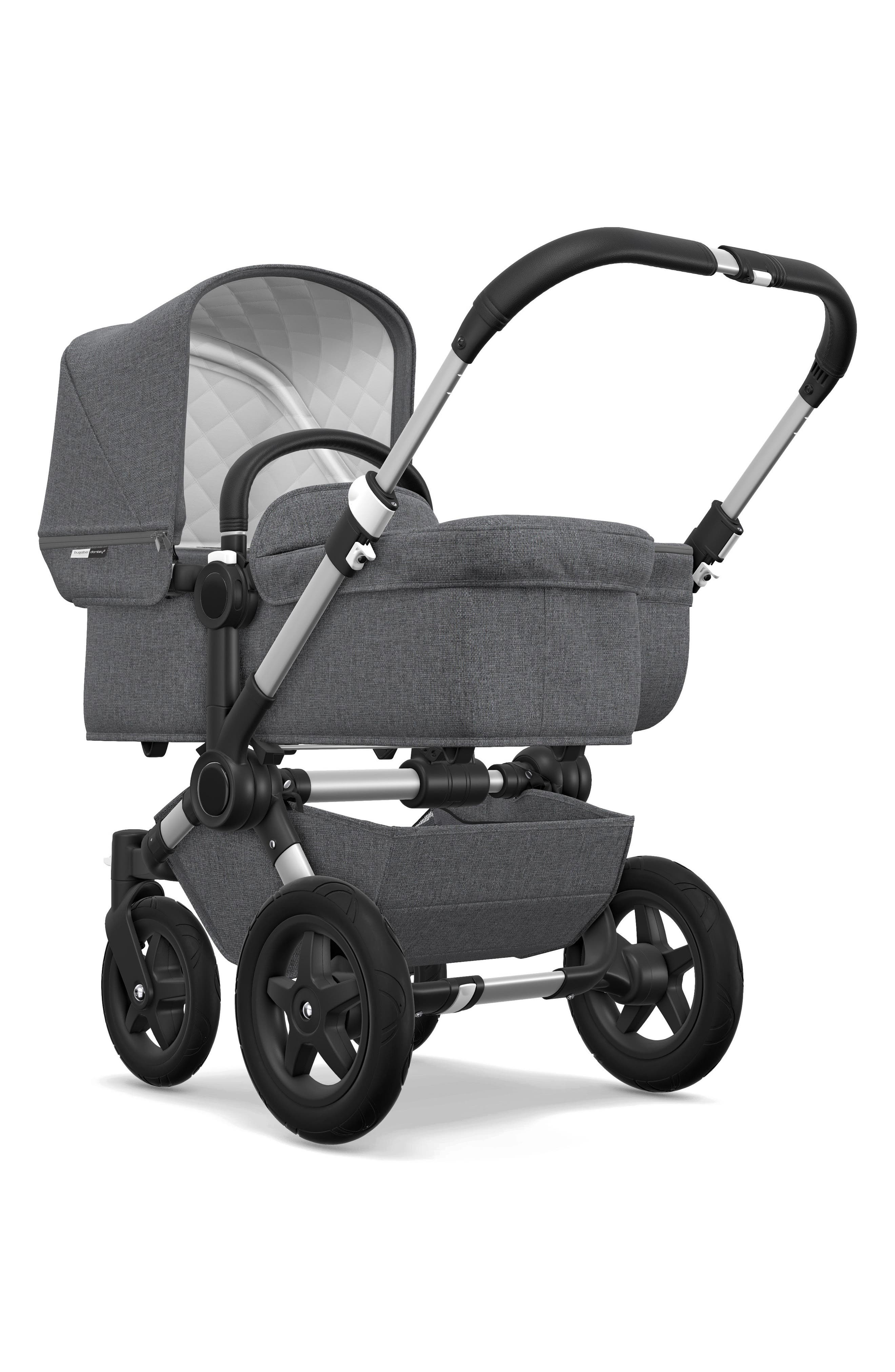 Donkey2 Classic Mono Complete Stroller with Bassinet,                             Alternate thumbnail 3, color,                             GREY MELANGE/ ALUMINUM