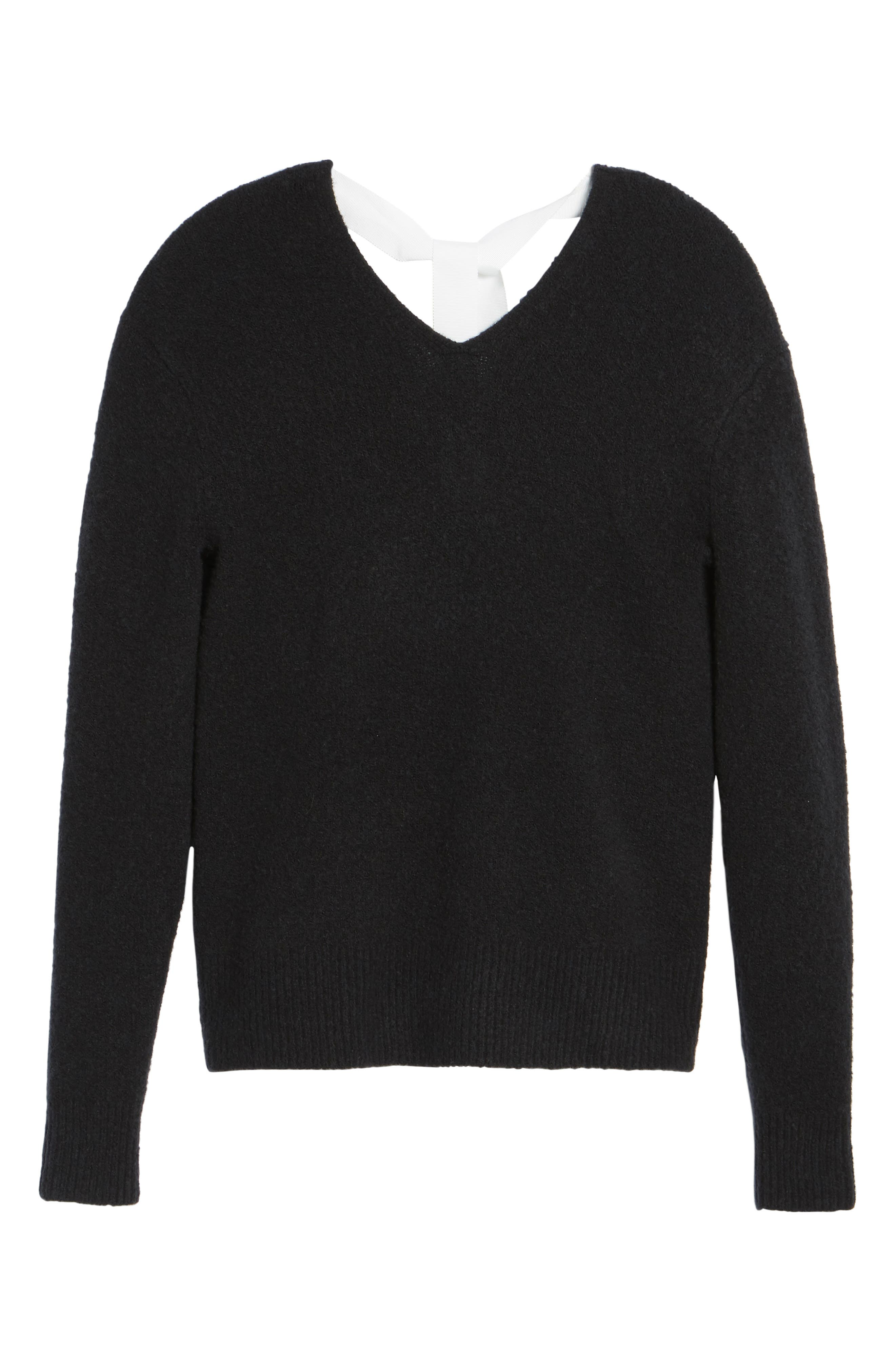 Tie Back Sweater,                             Alternate thumbnail 6, color,                             001