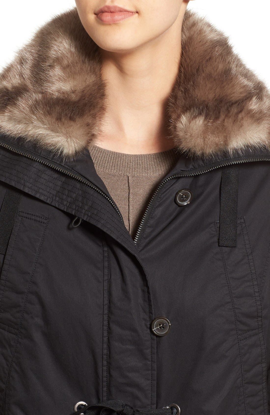 Hooded Parka With Faux Fur Trim,                             Alternate thumbnail 2, color,                             001