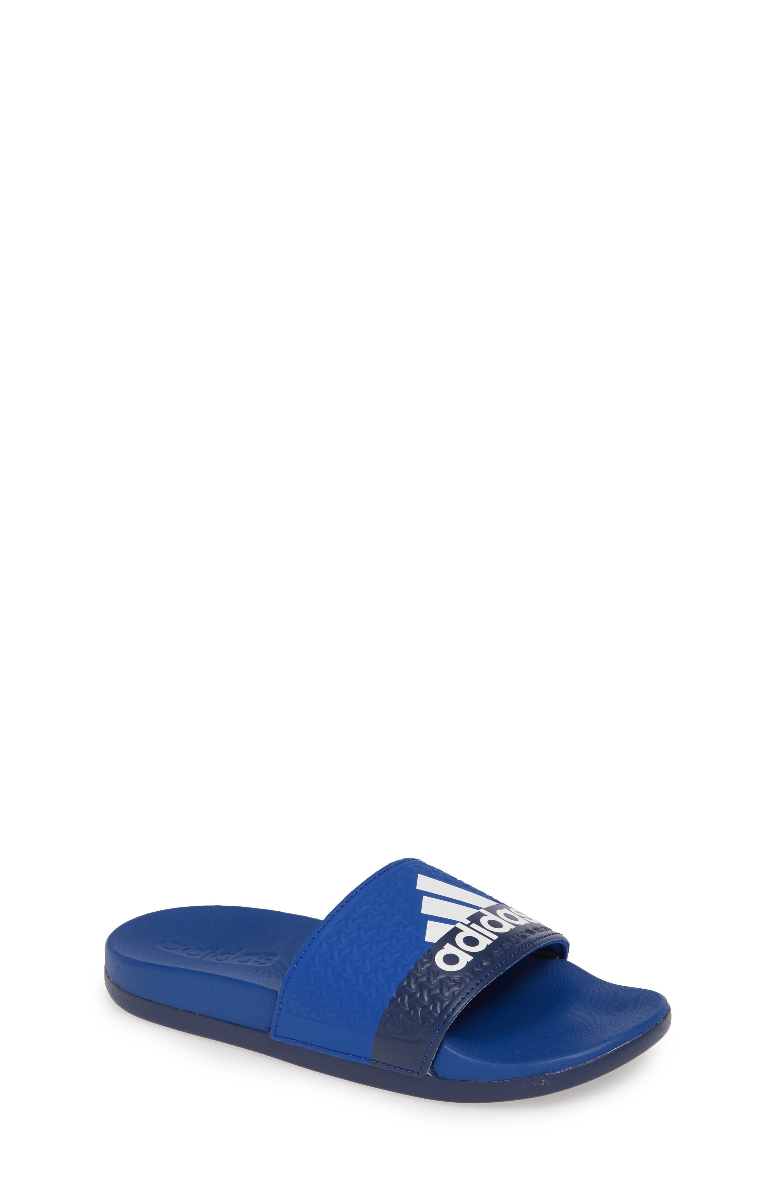 Adilette Slide Sandal,                             Main thumbnail 1, color,                             COLLEGIATE ROYAL/ WHITE/ BLUE