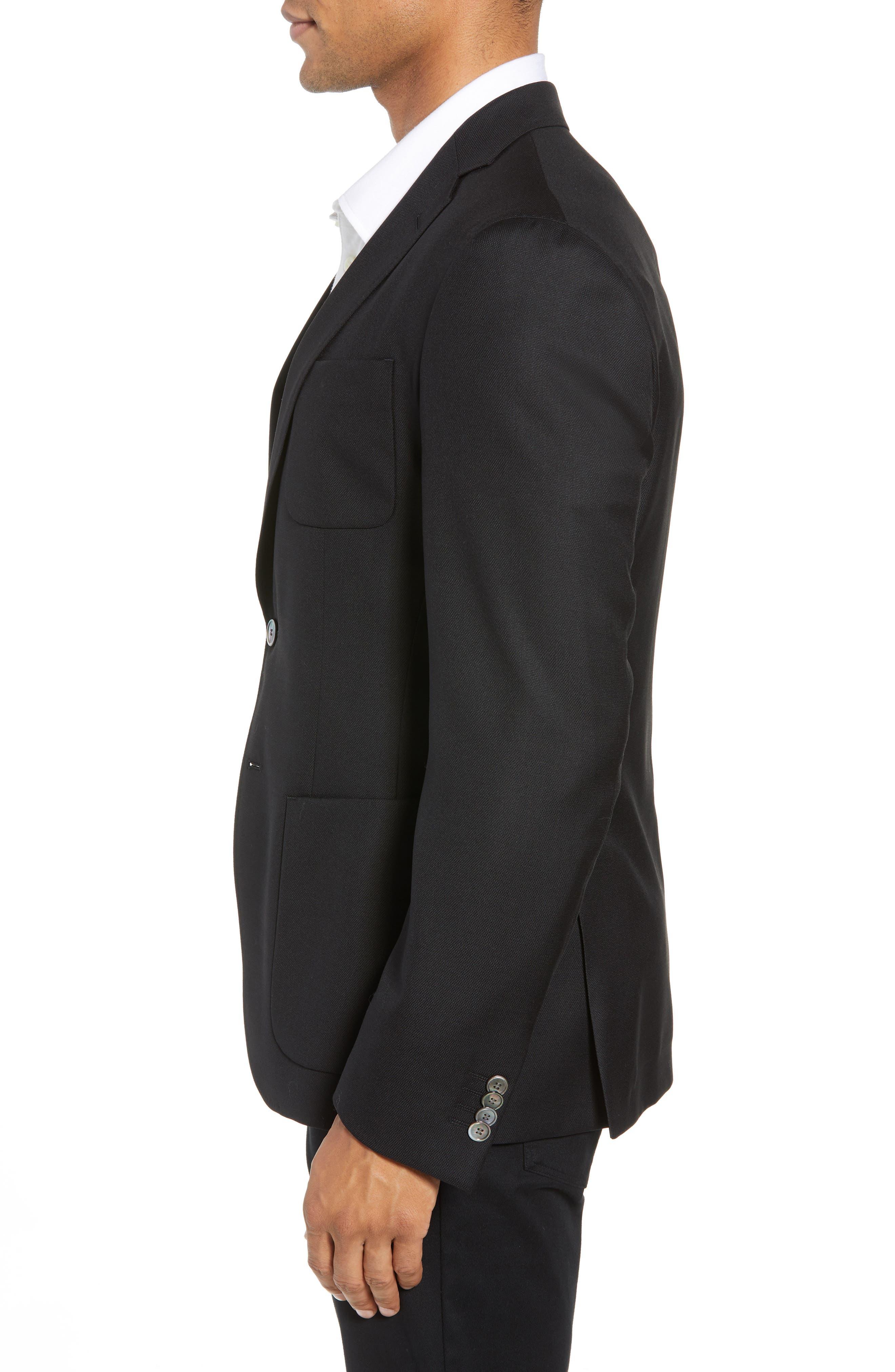 BOSS,                             Raye Extra Trim Fit Sport Coat,                             Alternate thumbnail 3, color,                             BLACK