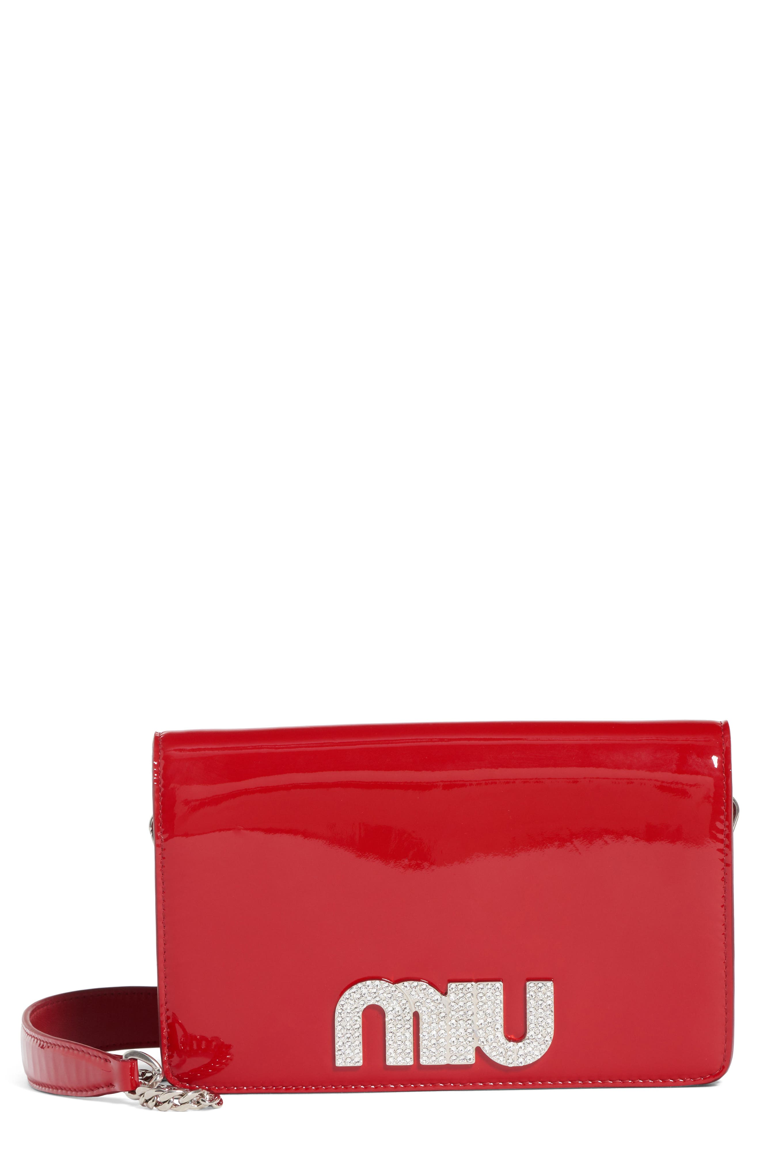 Vernice Crystal Logo Patent Leather Shoulder Bag,                             Main thumbnail 1, color,                             ROSSO