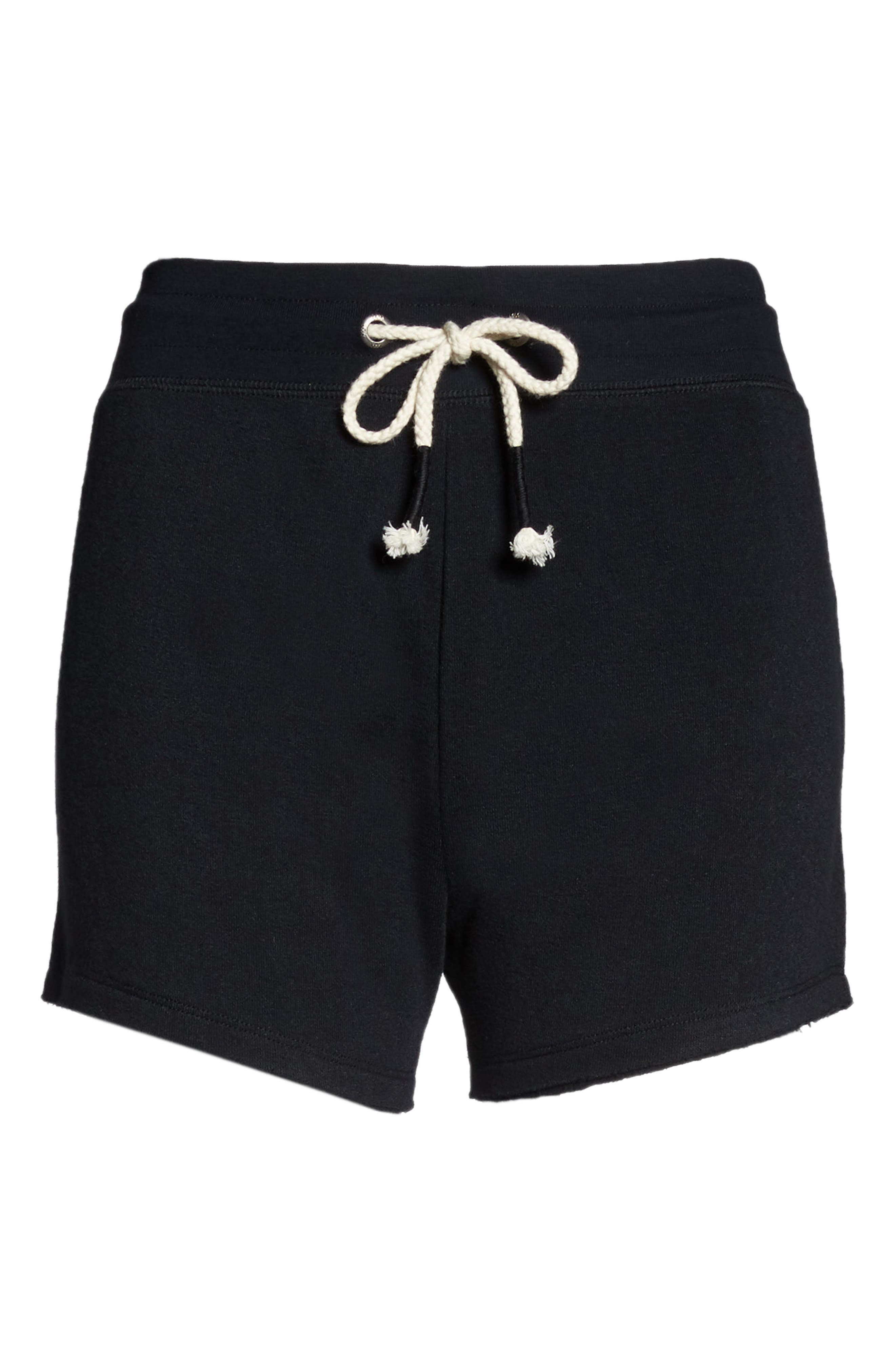 Dreamy High Rise Fleece Shorts,                             Alternate thumbnail 6, color,                             BLACK