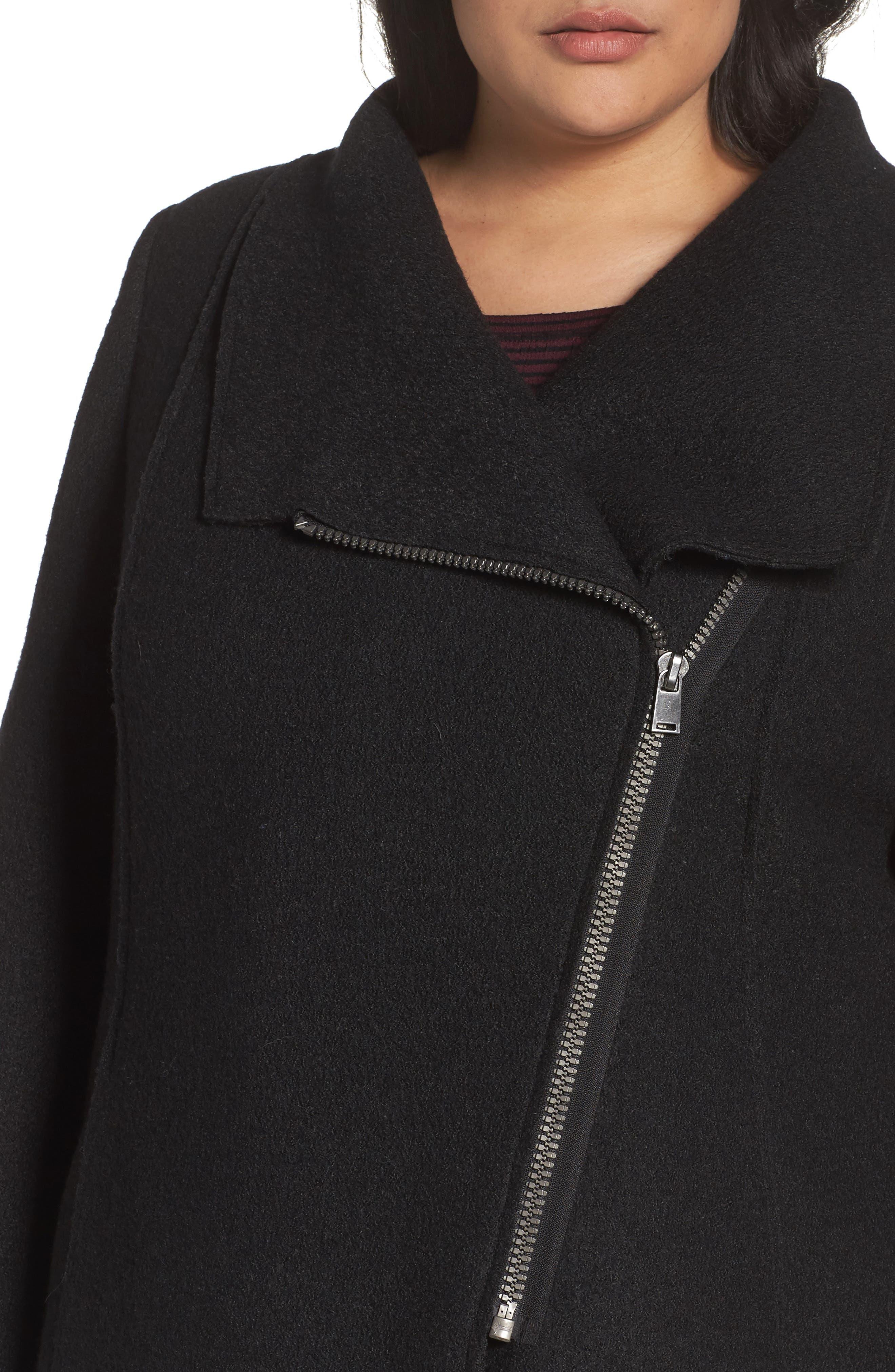 Asymmetrical Zip Boiled Wool Blend Coat,                             Alternate thumbnail 4, color,                             001