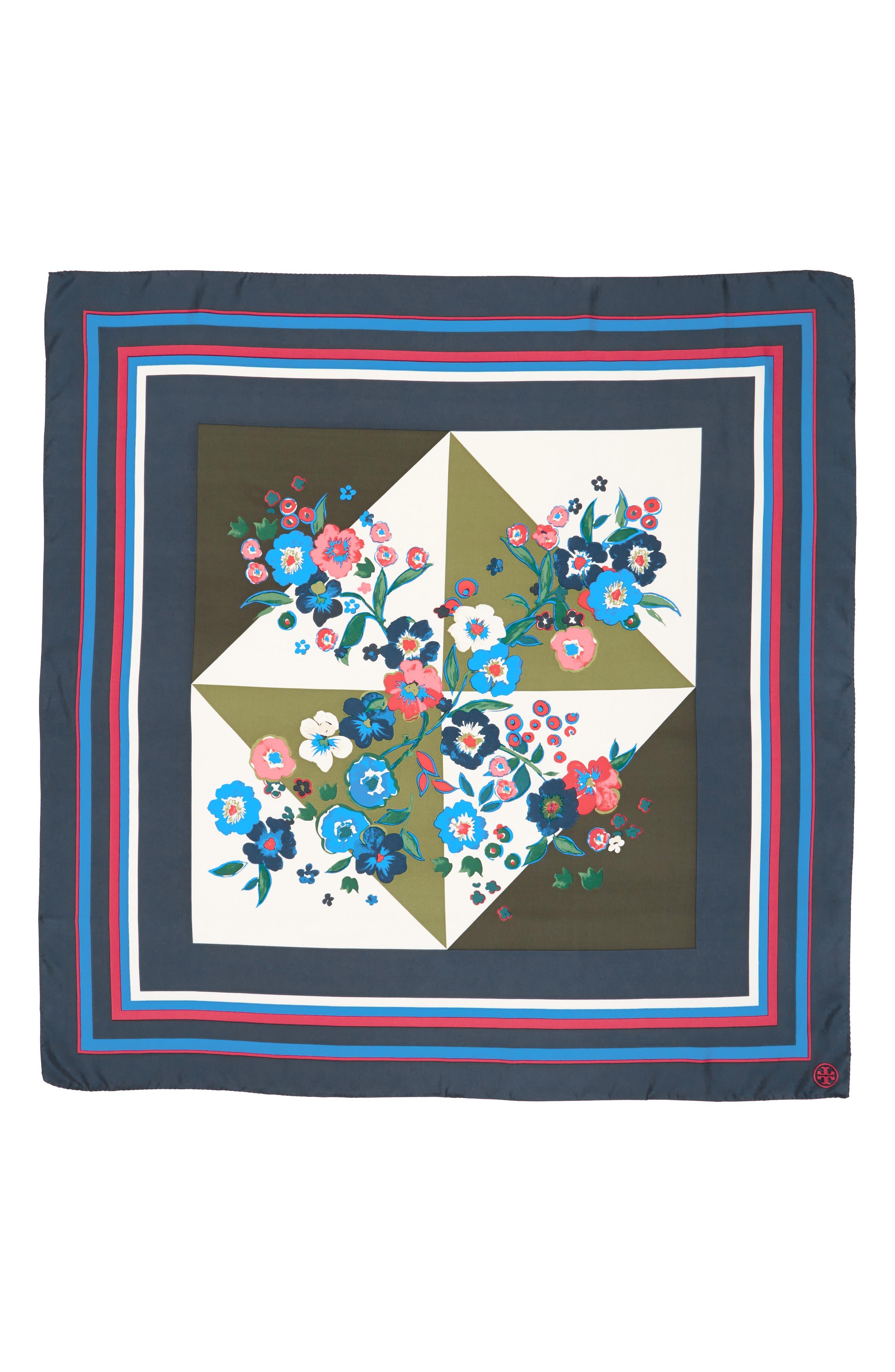 Paisley Bouquet Silk Square Scarf,                             Alternate thumbnail 2, color,                             400