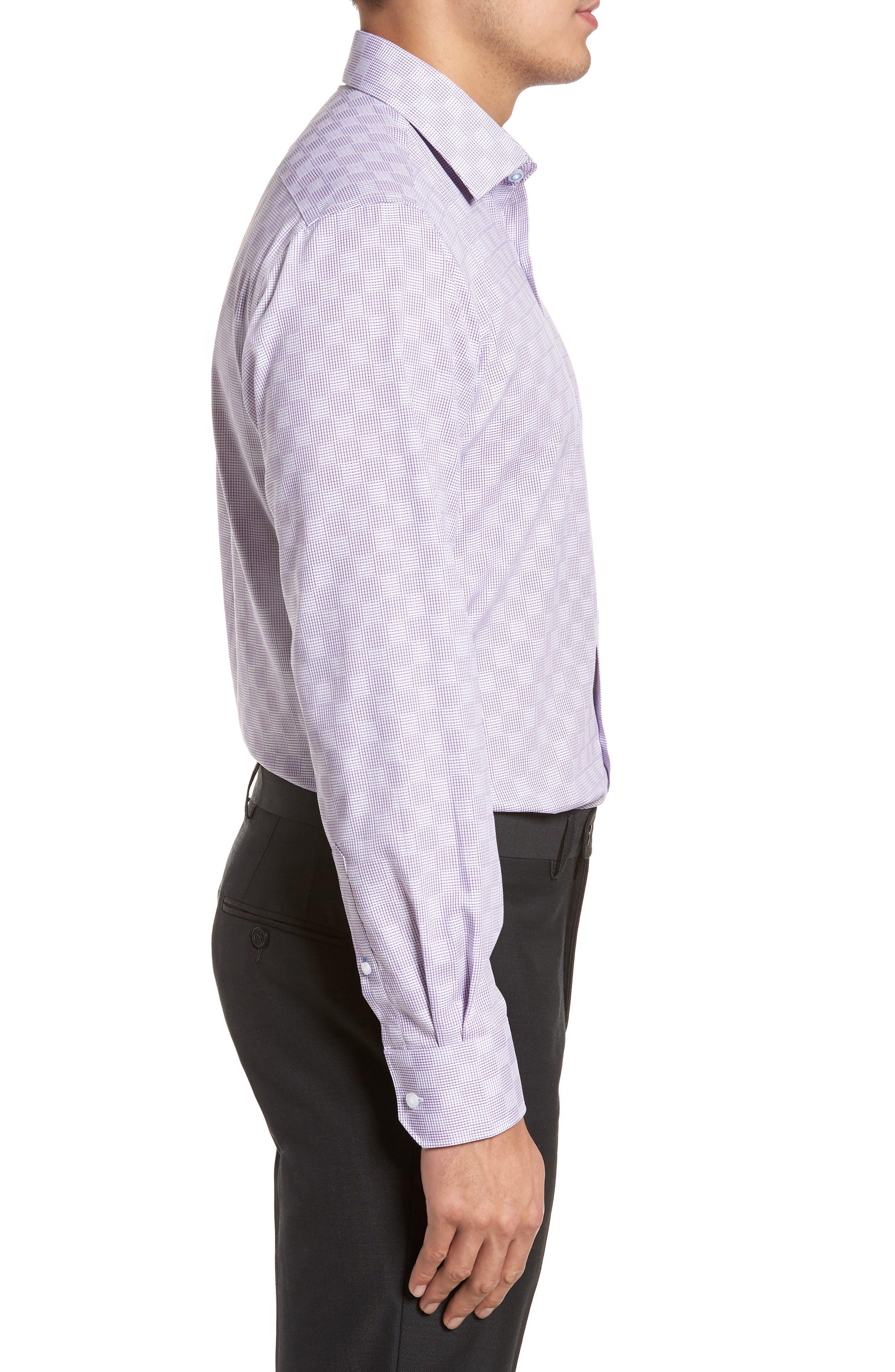 Haper Trim Fit Plaid Dress Shirt,                             Alternate thumbnail 4, color,                             PURPLE