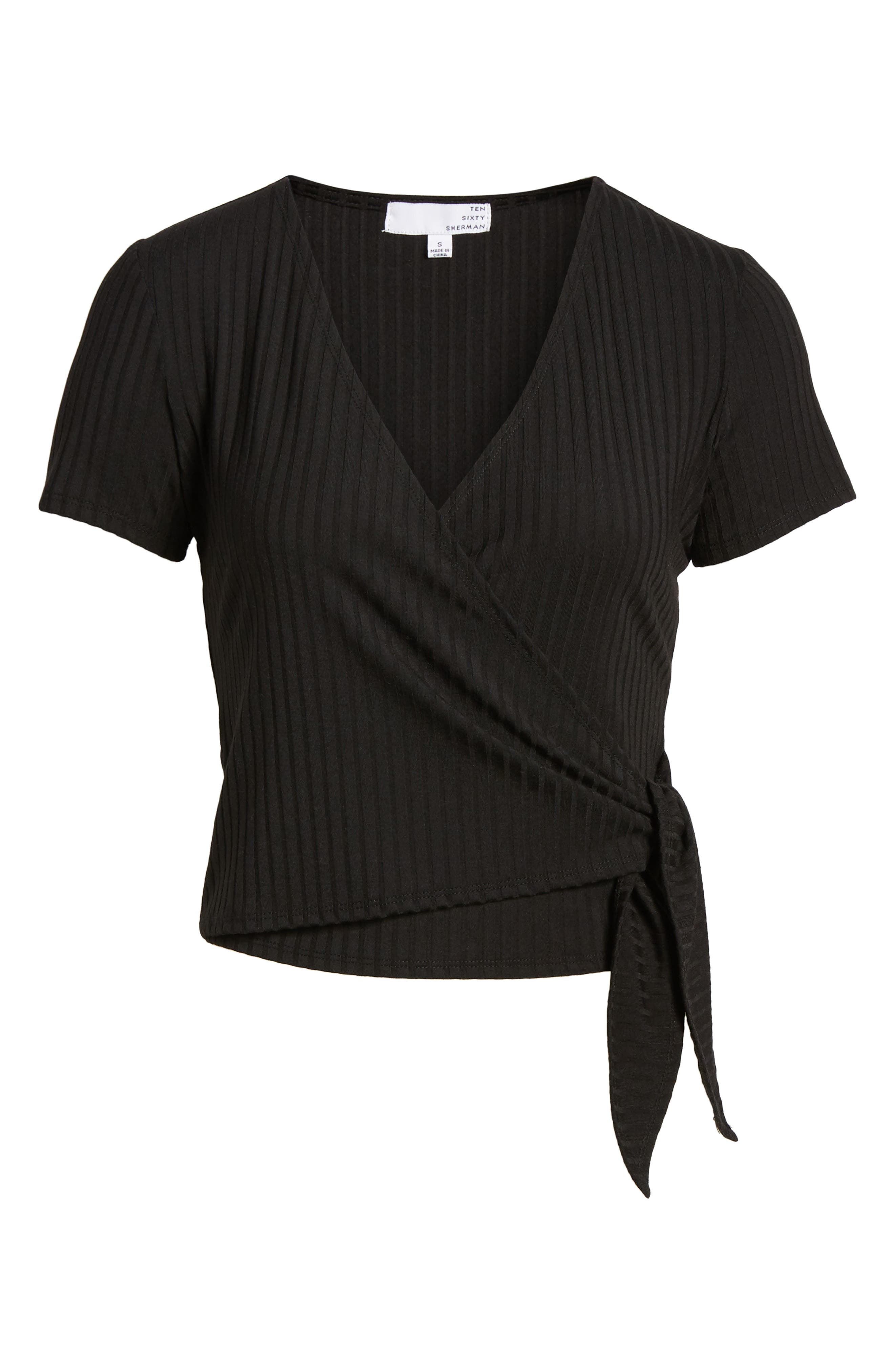 Ribbed Wrap Front Top,                             Alternate thumbnail 7, color,                             BLACK
