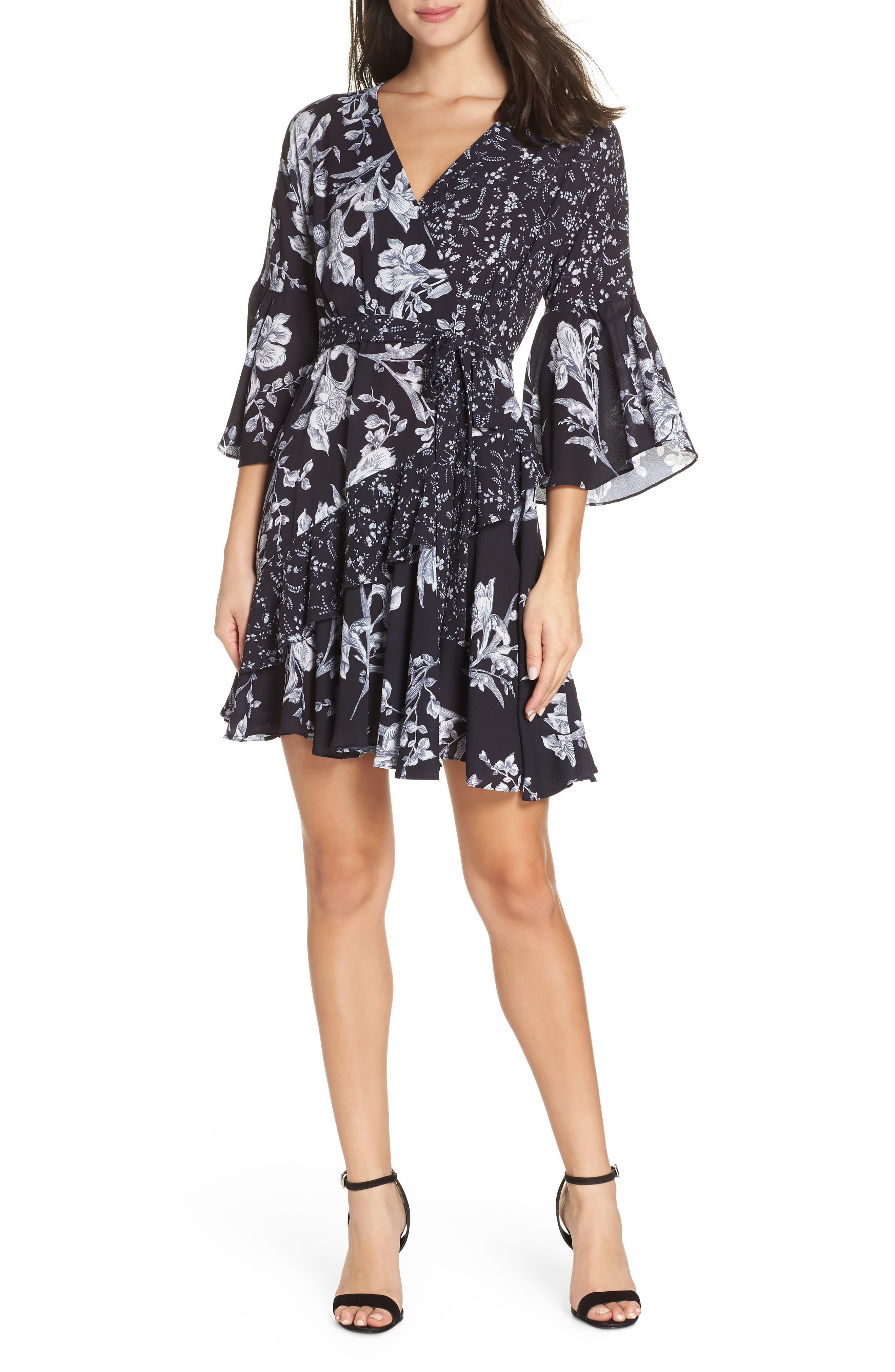 French Connection Ellette Crepe Faux Wrap Dress, Blue