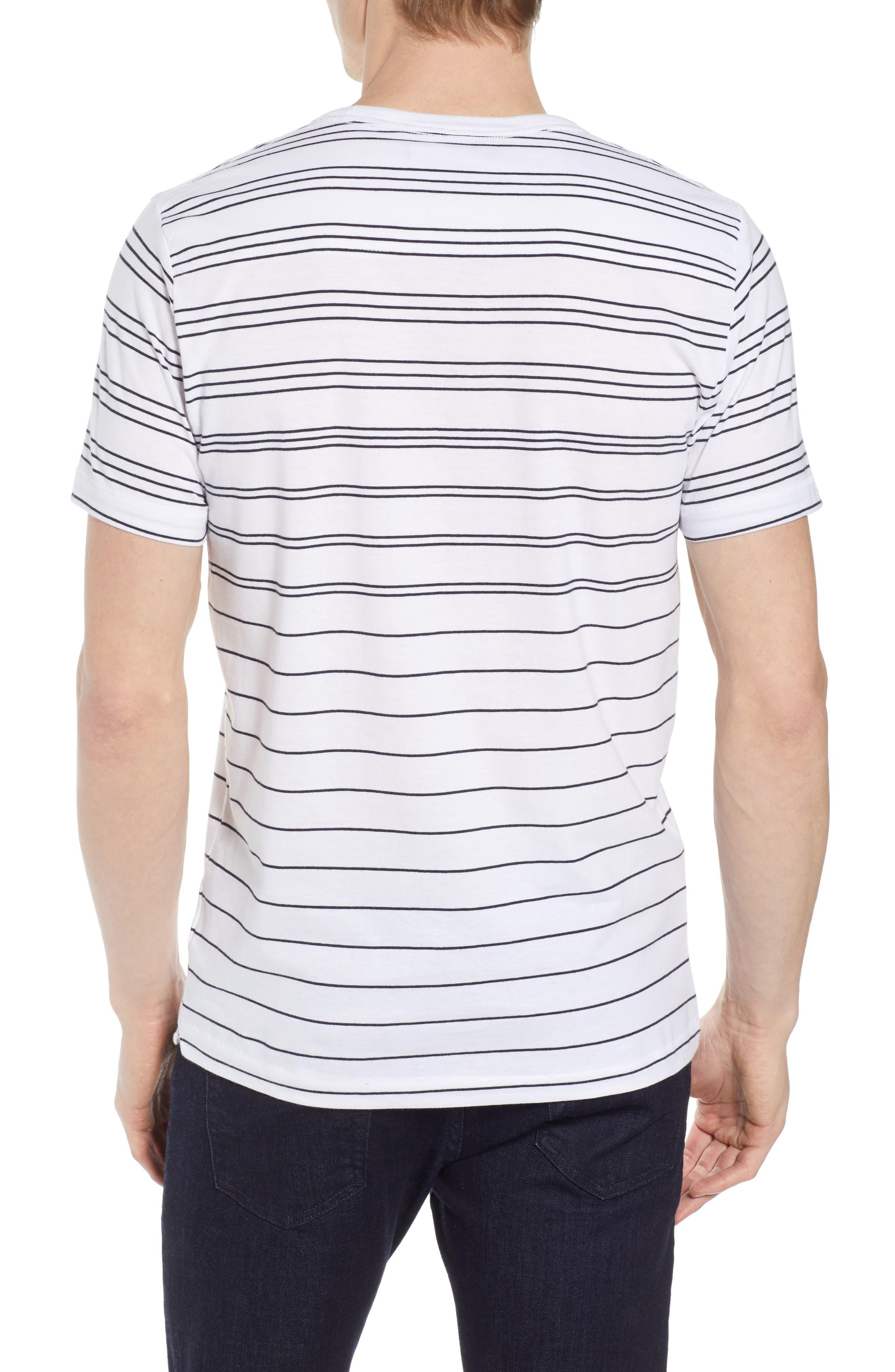 Summer Graded Stripe Pocket T-Shirt,                             Alternate thumbnail 2, color,                             WHITE MARINE BLUE