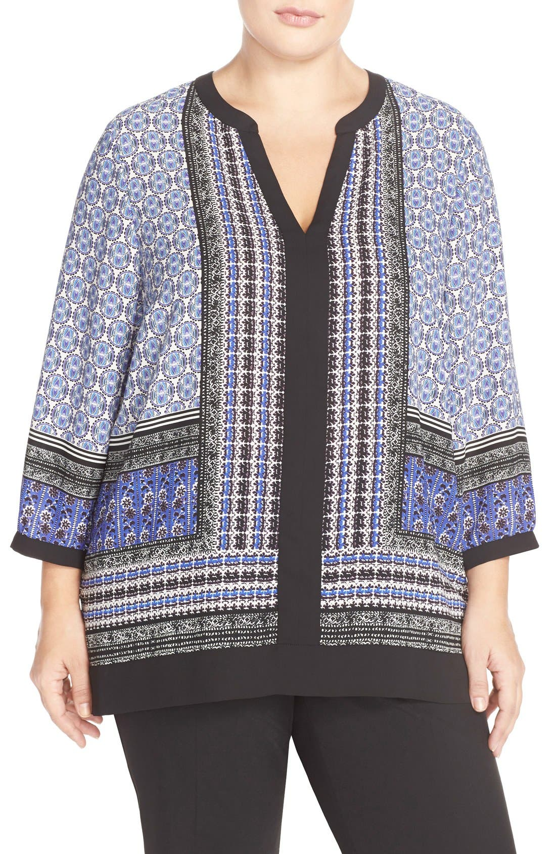 Print Split Neck Tunic,                         Main,                         color, 402