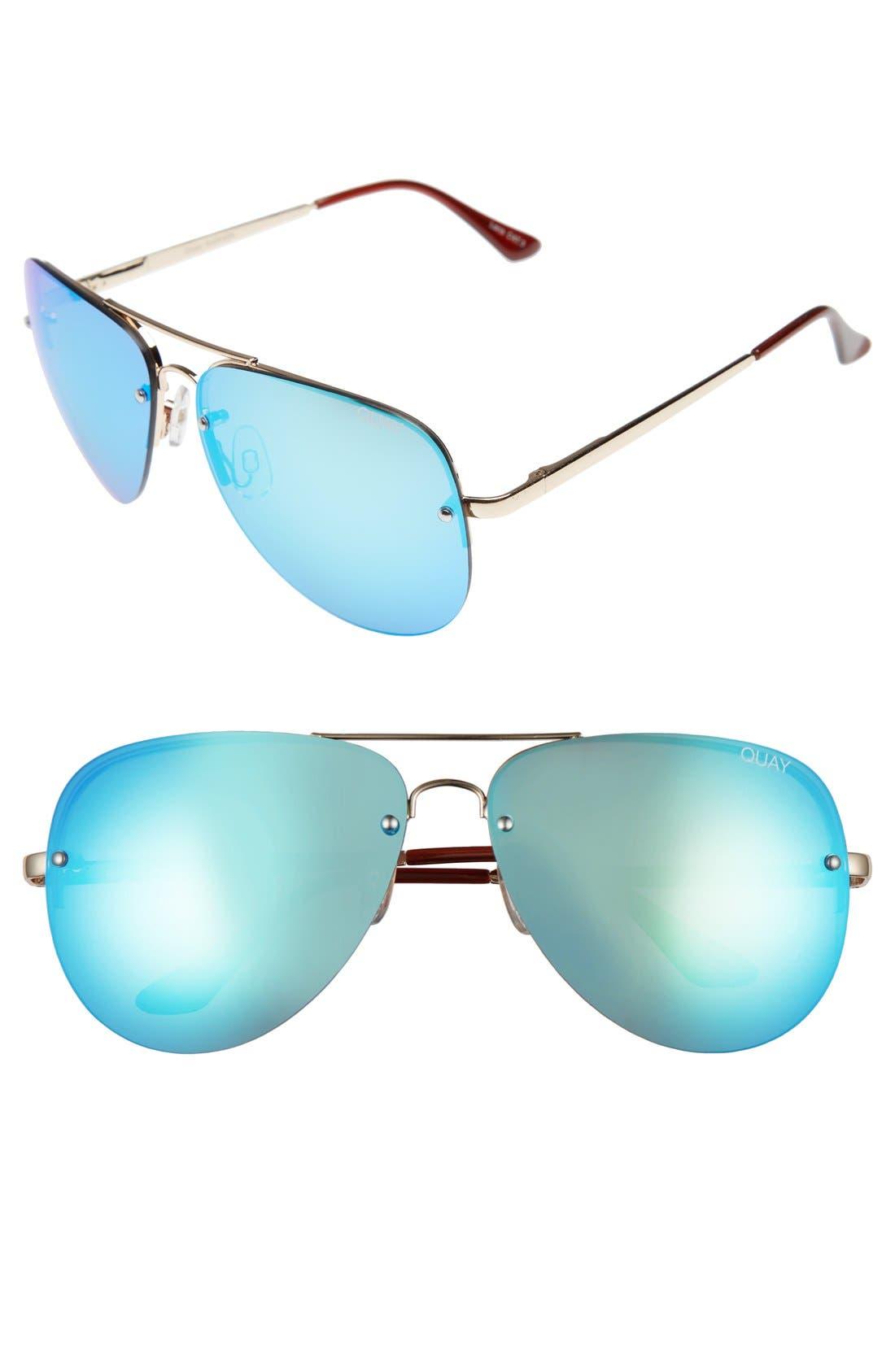 'Muse' 65mm Mirrored Aviator Sunglasses,                             Main thumbnail 4, color,