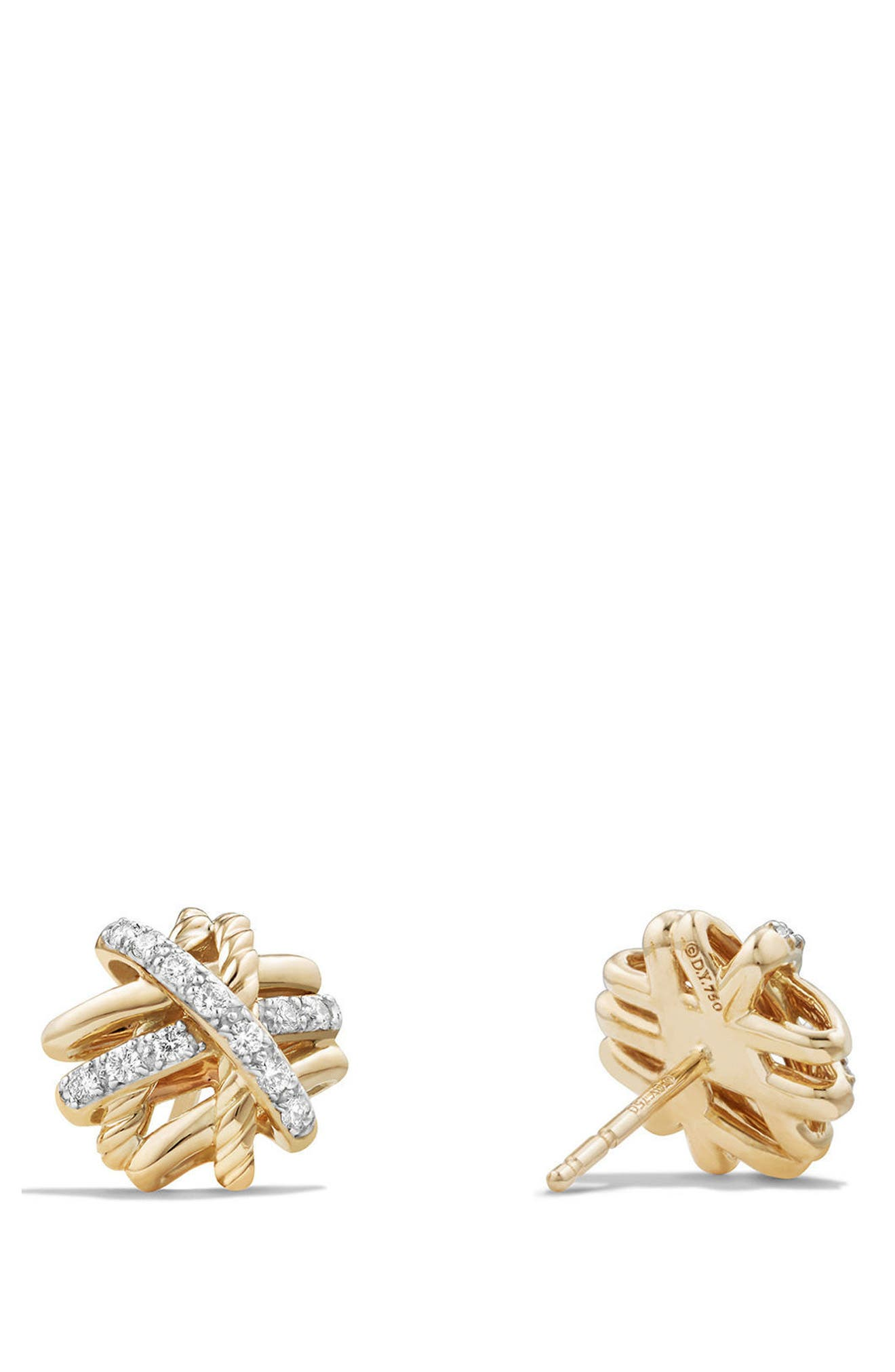 Crossover Stud Earrings with Diamonds in 18k Gold,                             Alternate thumbnail 2, color,                             YELLOW GOLD/ DIAMOND