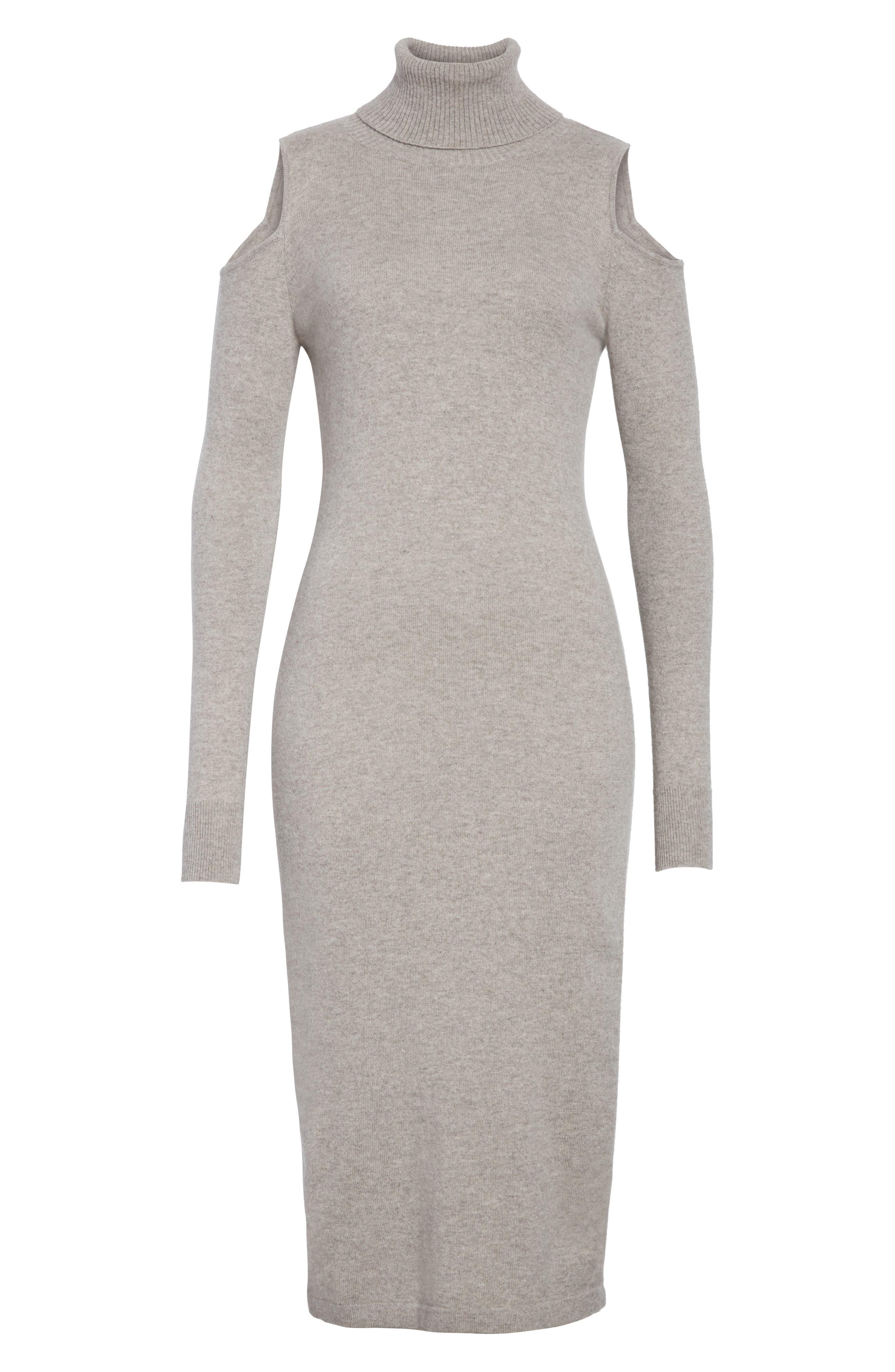 Cashmere Cold Shoulder Turtleneck Sweater Dress,                             Alternate thumbnail 12, color,