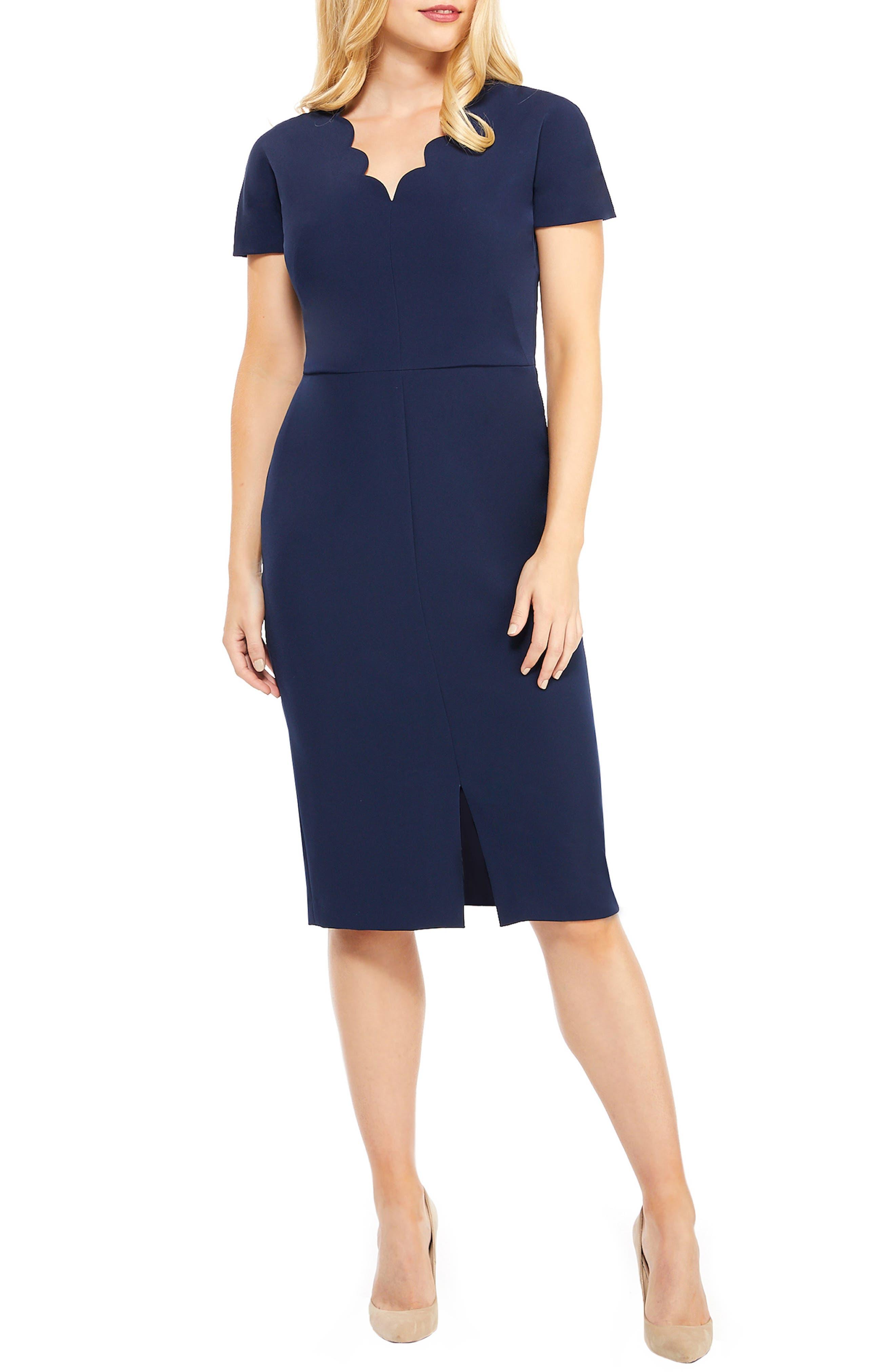 Scallop Sheath Dress,                             Main thumbnail 1, color,                             415