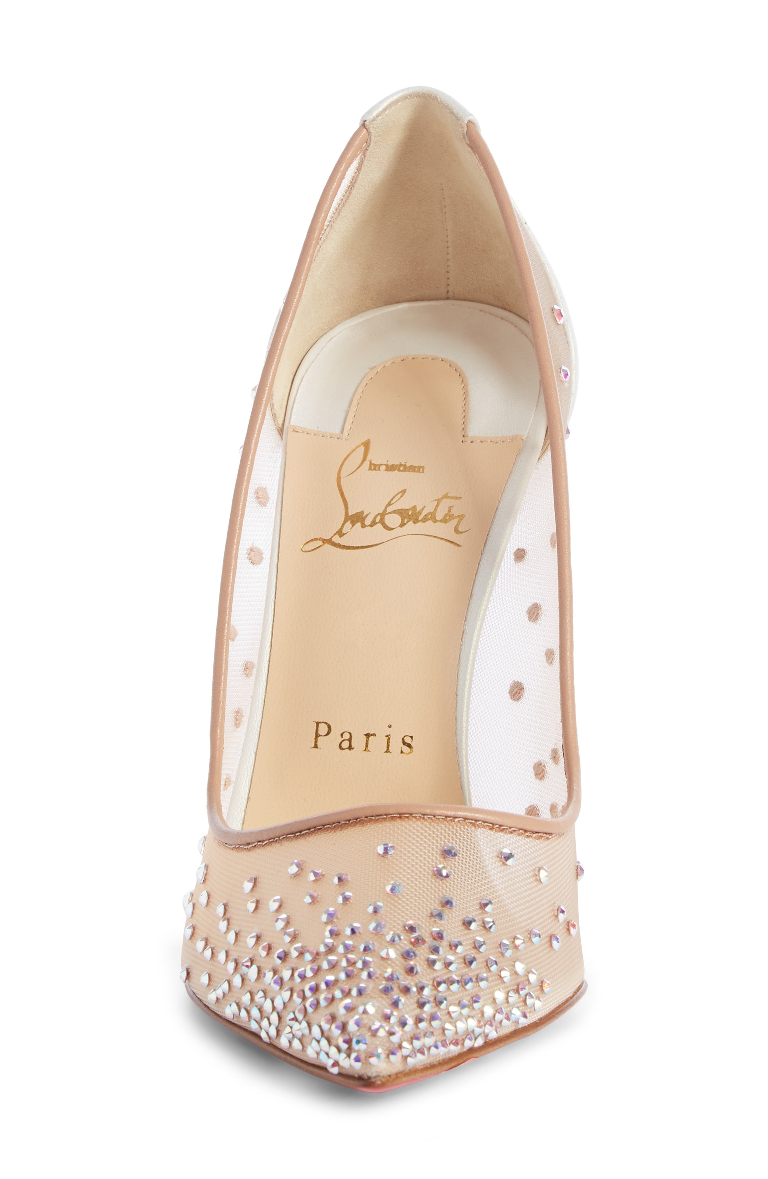 Follies Strass Pointy Toe Pump,                             Alternate thumbnail 4, color,                             SNOW/ NUDE
