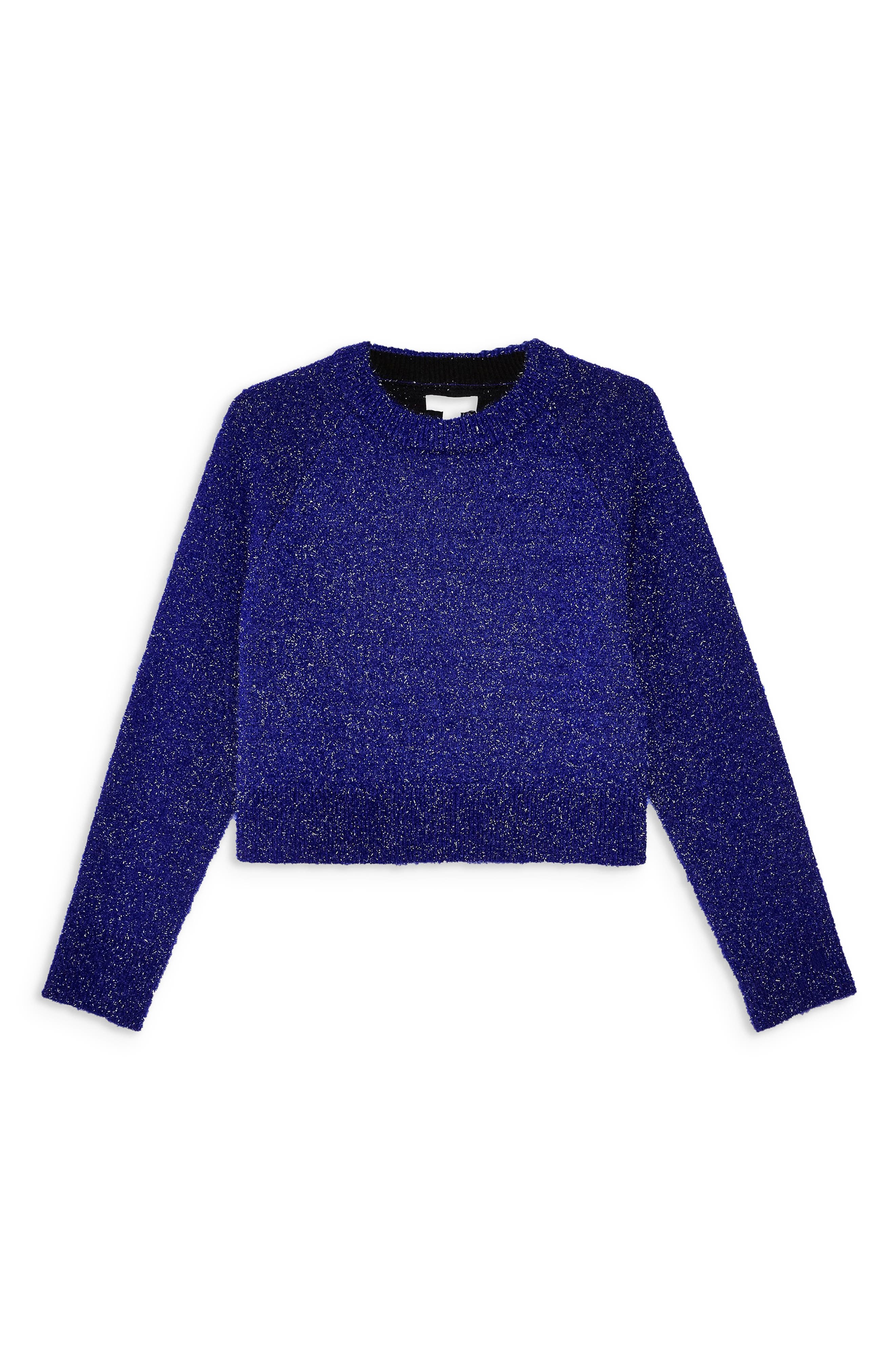 Metallic Crop Sweater,                             Alternate thumbnail 3, color,                             BLUE