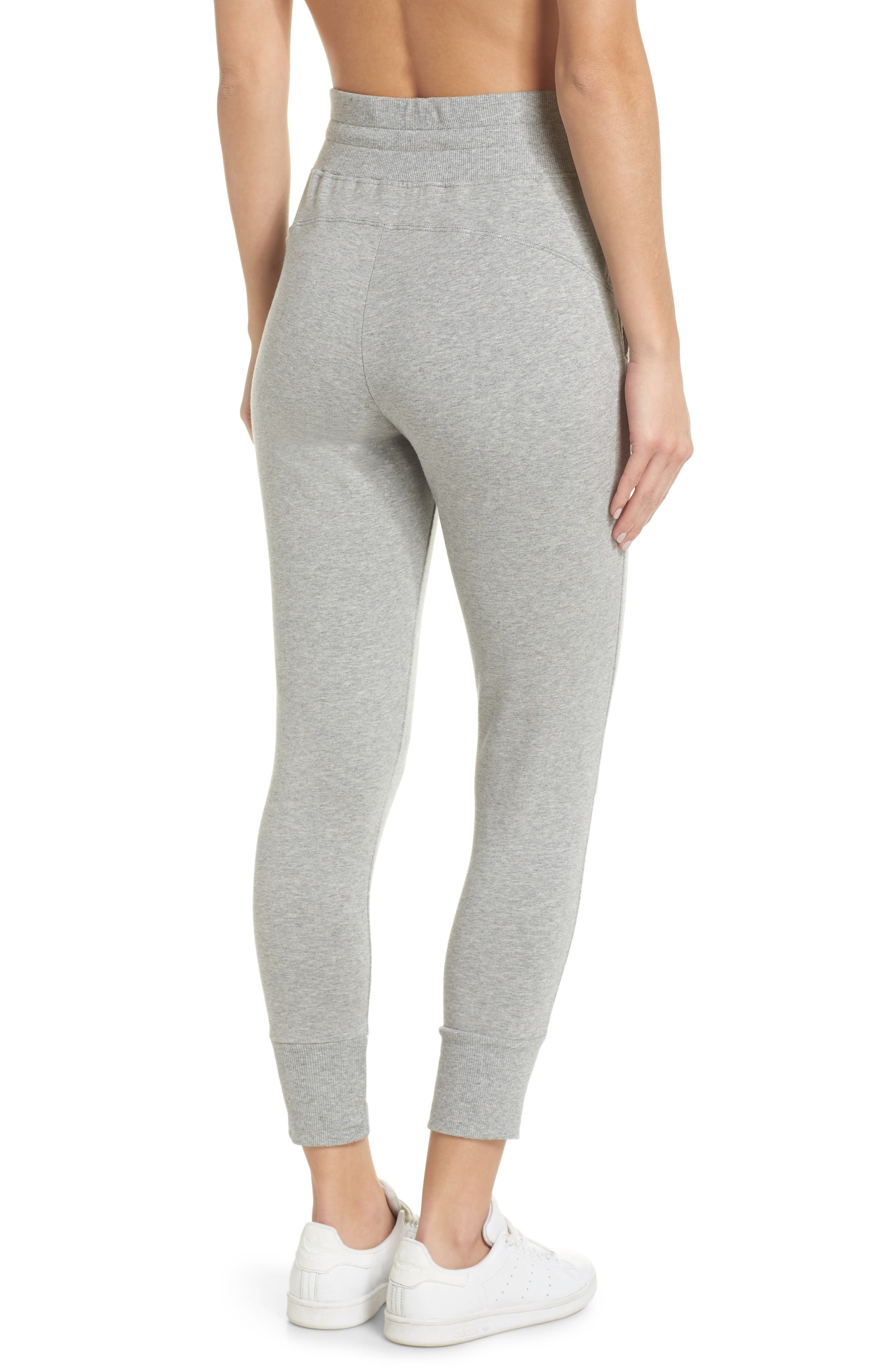 Repeat High Waist Crop Jogger Pants,                             Alternate thumbnail 2, color,                             GREY QUIET HEATHER
