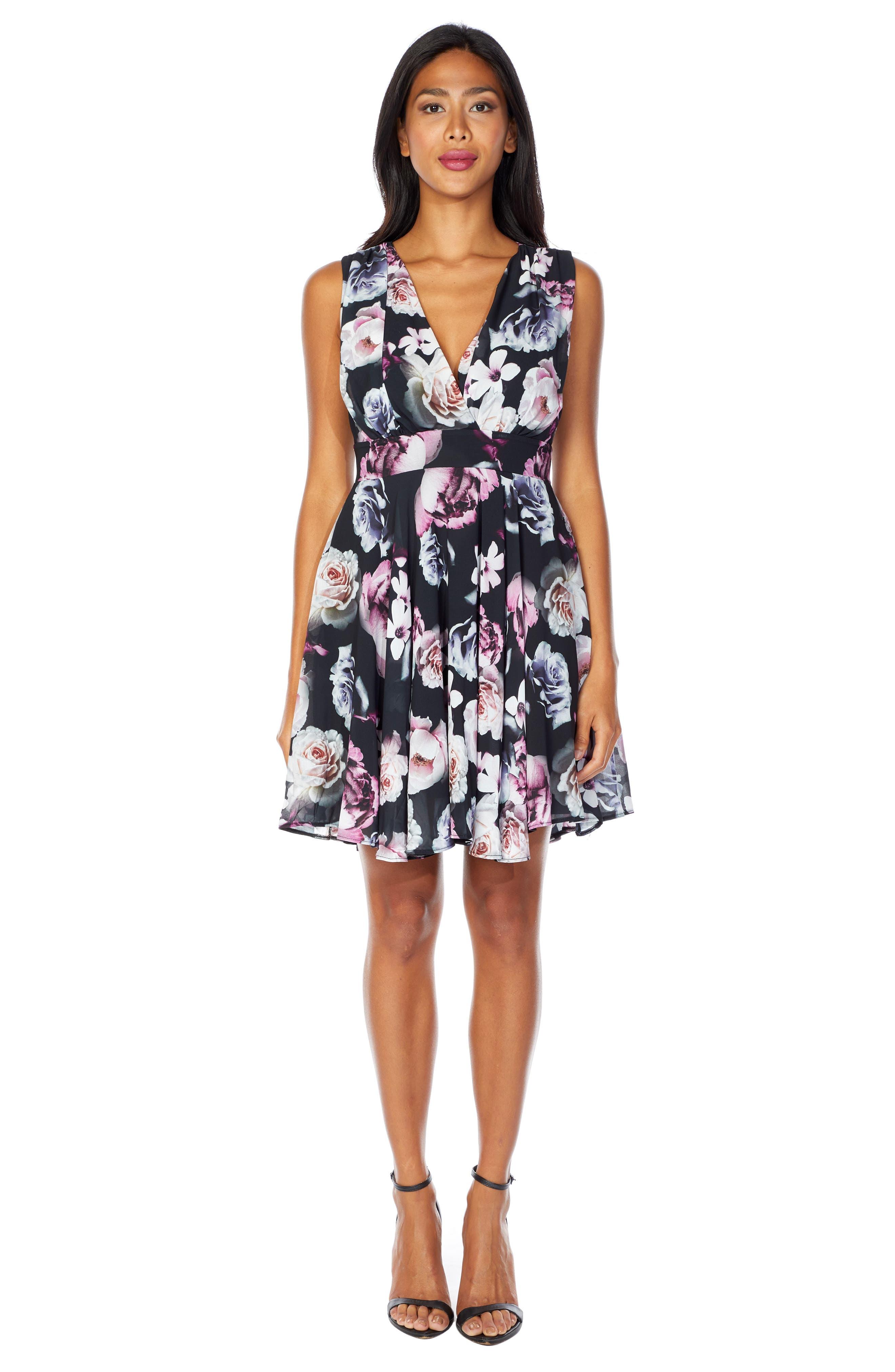 V-Neck Fit & Flare Dress,                             Alternate thumbnail 4, color,                             BLACK
