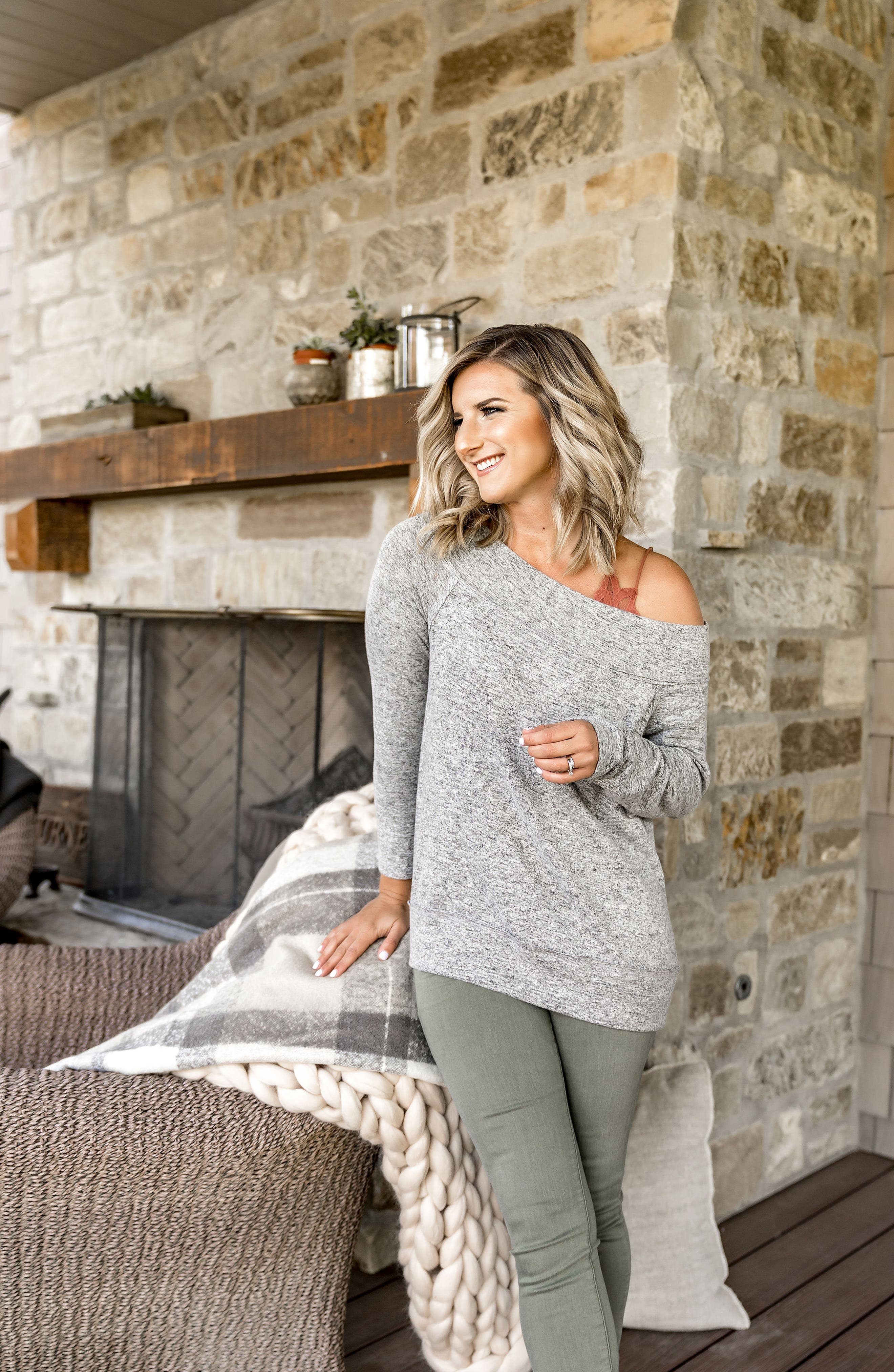 x Living in Yellow Mary Fleece Off the Shoulder Top,                             Alternate thumbnail 7, color,                             HEATHER GREY
