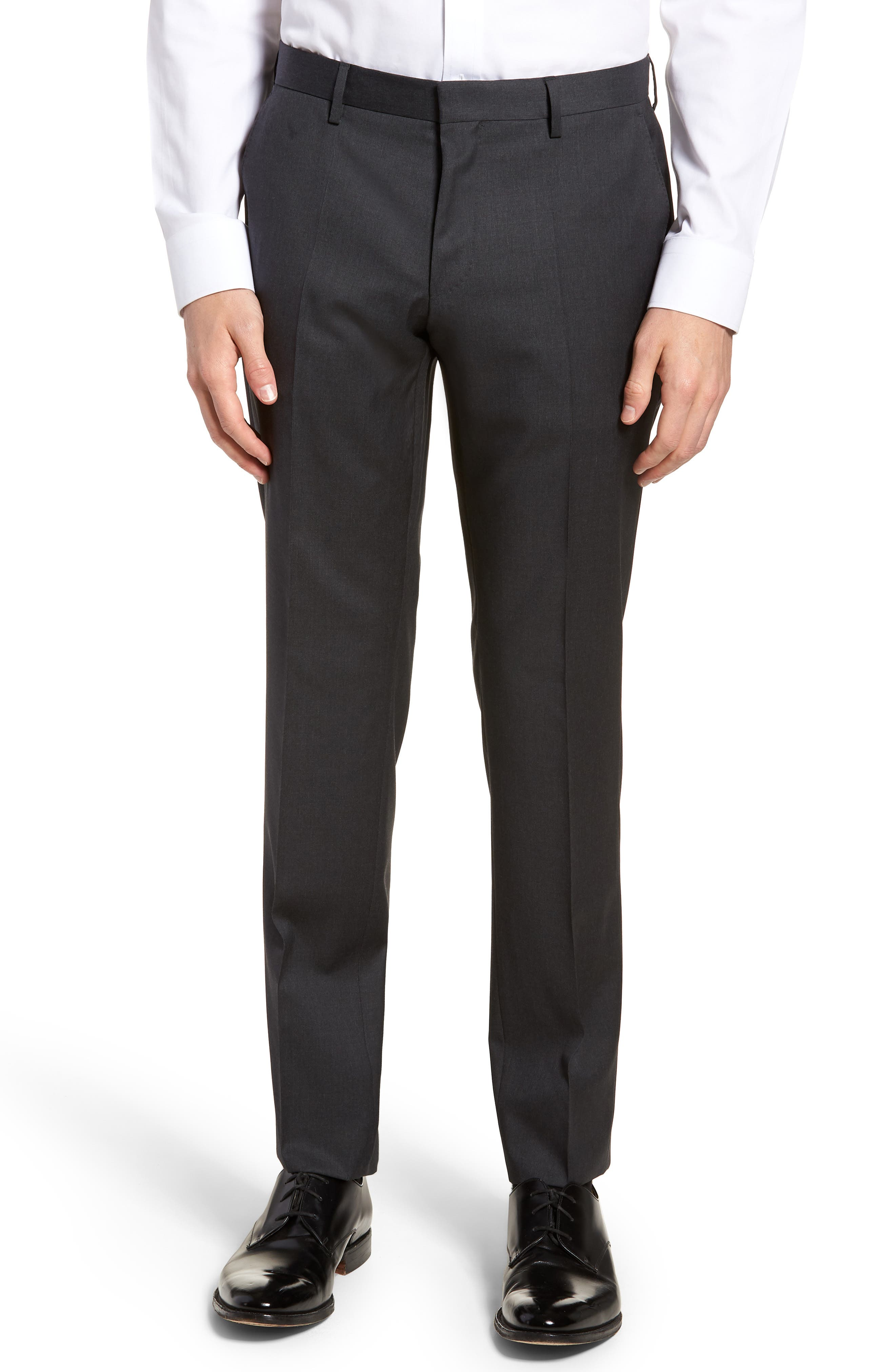 Gibson CYL Flat Front Solid Wool Trousers,                         Main,                         color, DARK GREY