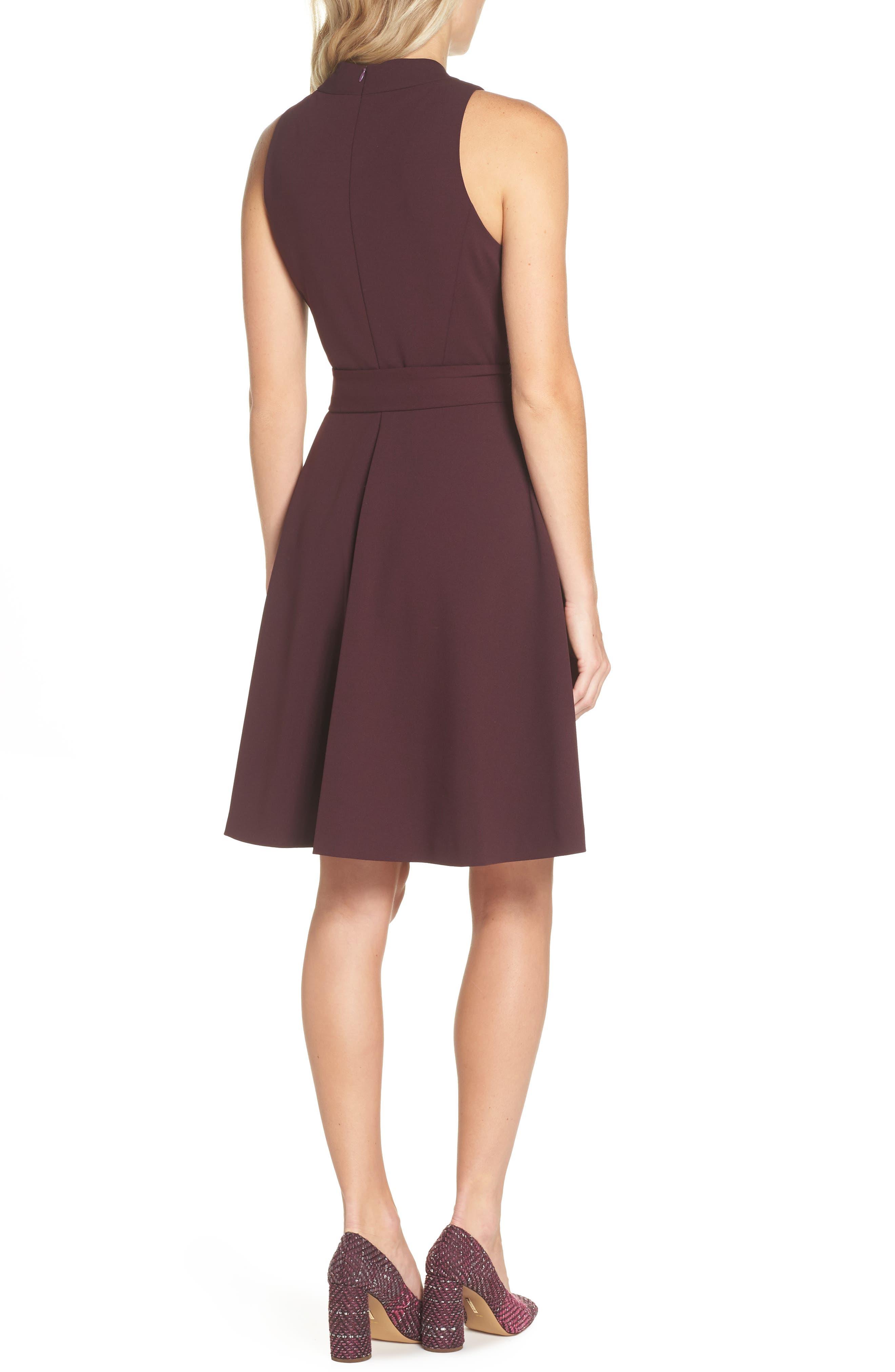 High Neck Scuba Crepe A-Line Dress,                             Alternate thumbnail 2, color,                             FIG