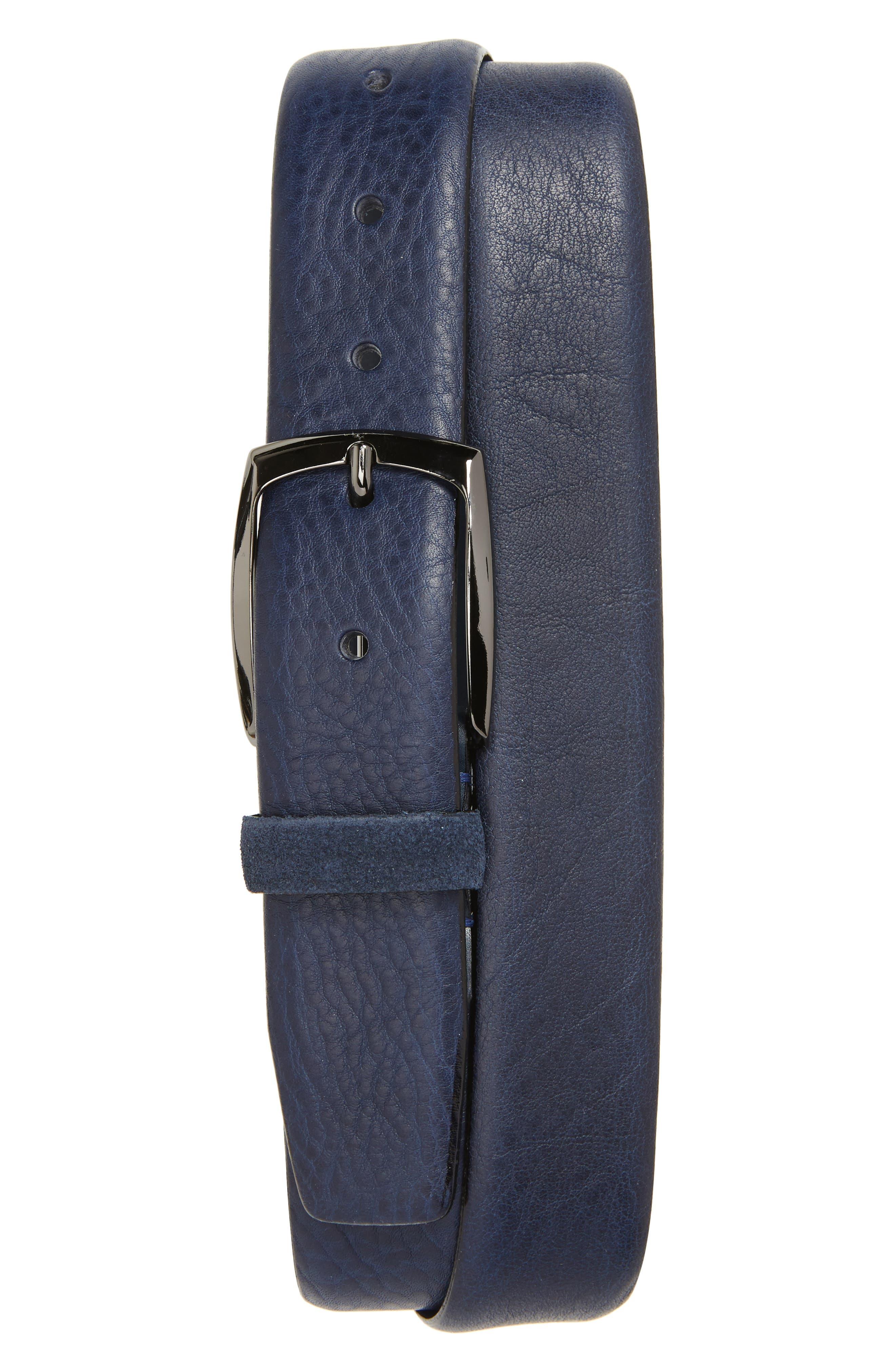 Cubes Leather Belt,                         Main,                         color, NAVY