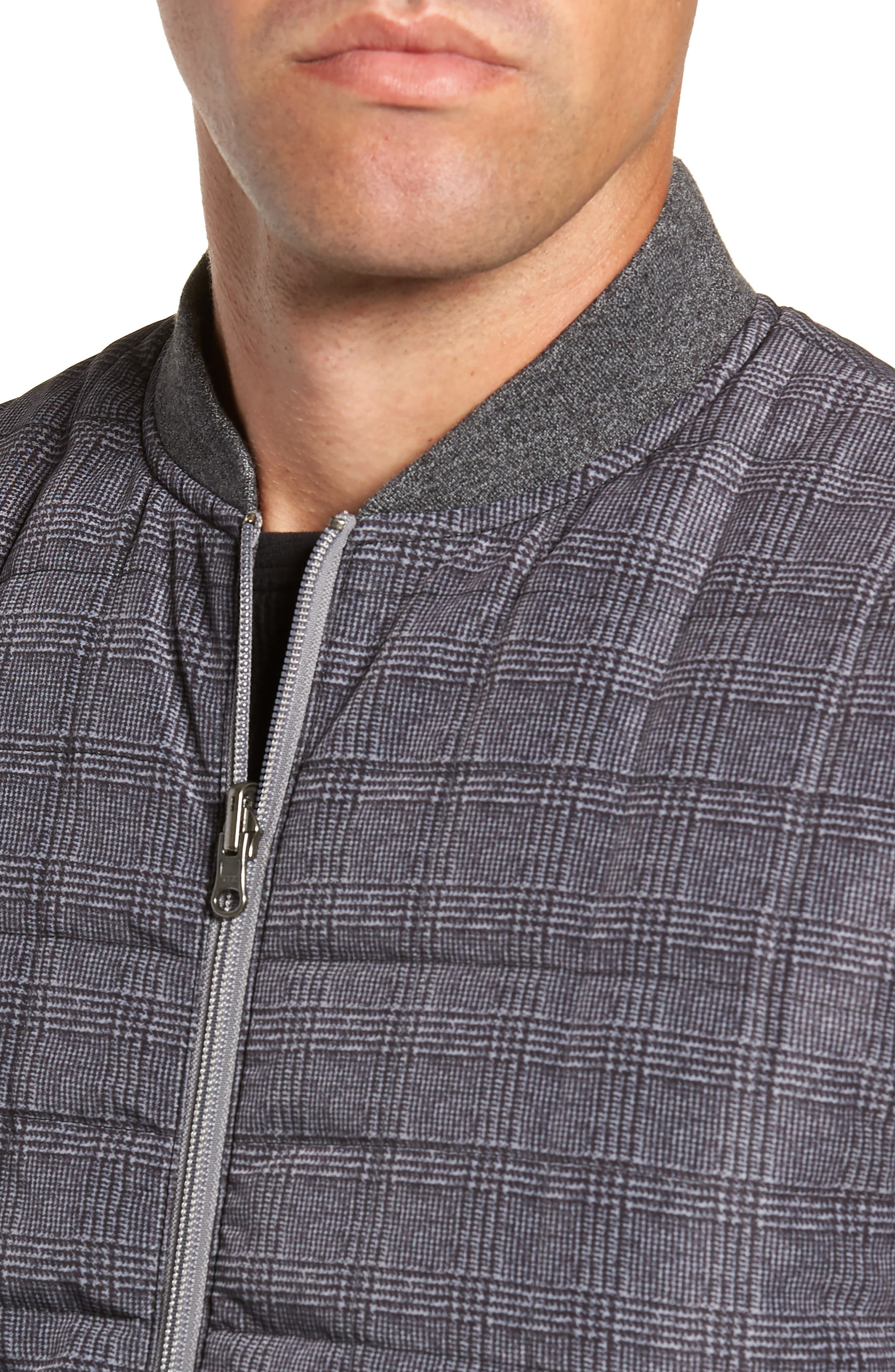 Romeo Plaid Quilted Vest,                             Alternate thumbnail 4, color,                             CHARCOAL