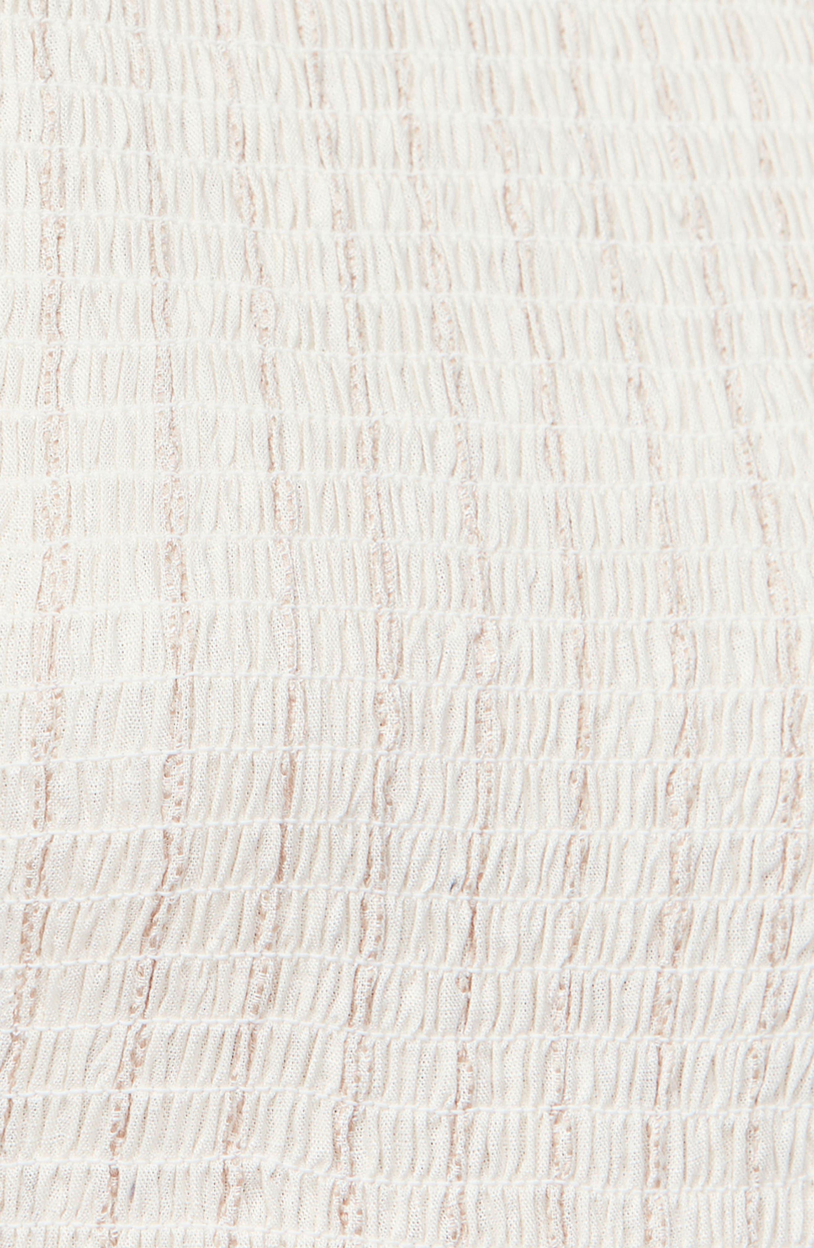 Butterflies Chambray Midi Dress,                             Alternate thumbnail 6, color,                             IVORY