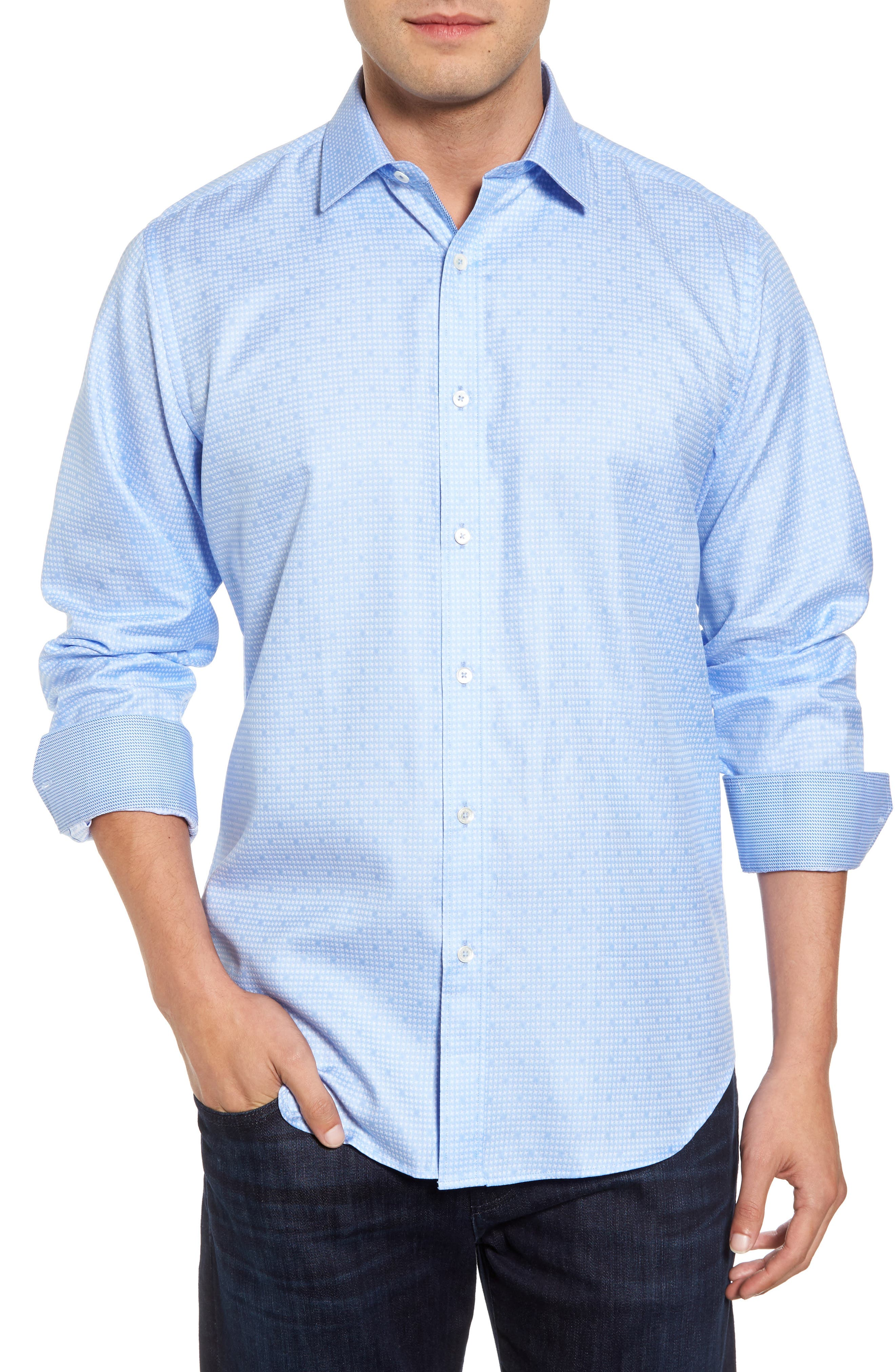 Classic Fit Houndstooth Sport Shirt,                         Main,                         color, 459