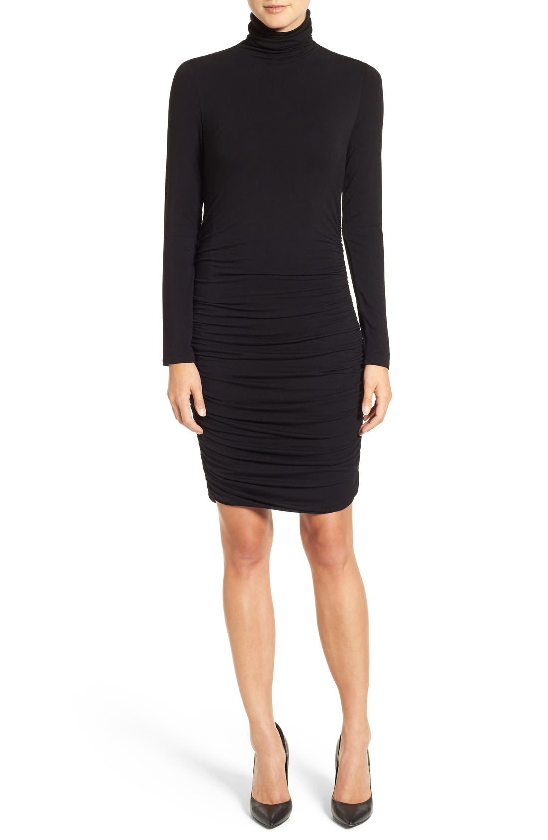 Side Ruched Turtleneck Dress,                             Main thumbnail 2, color,