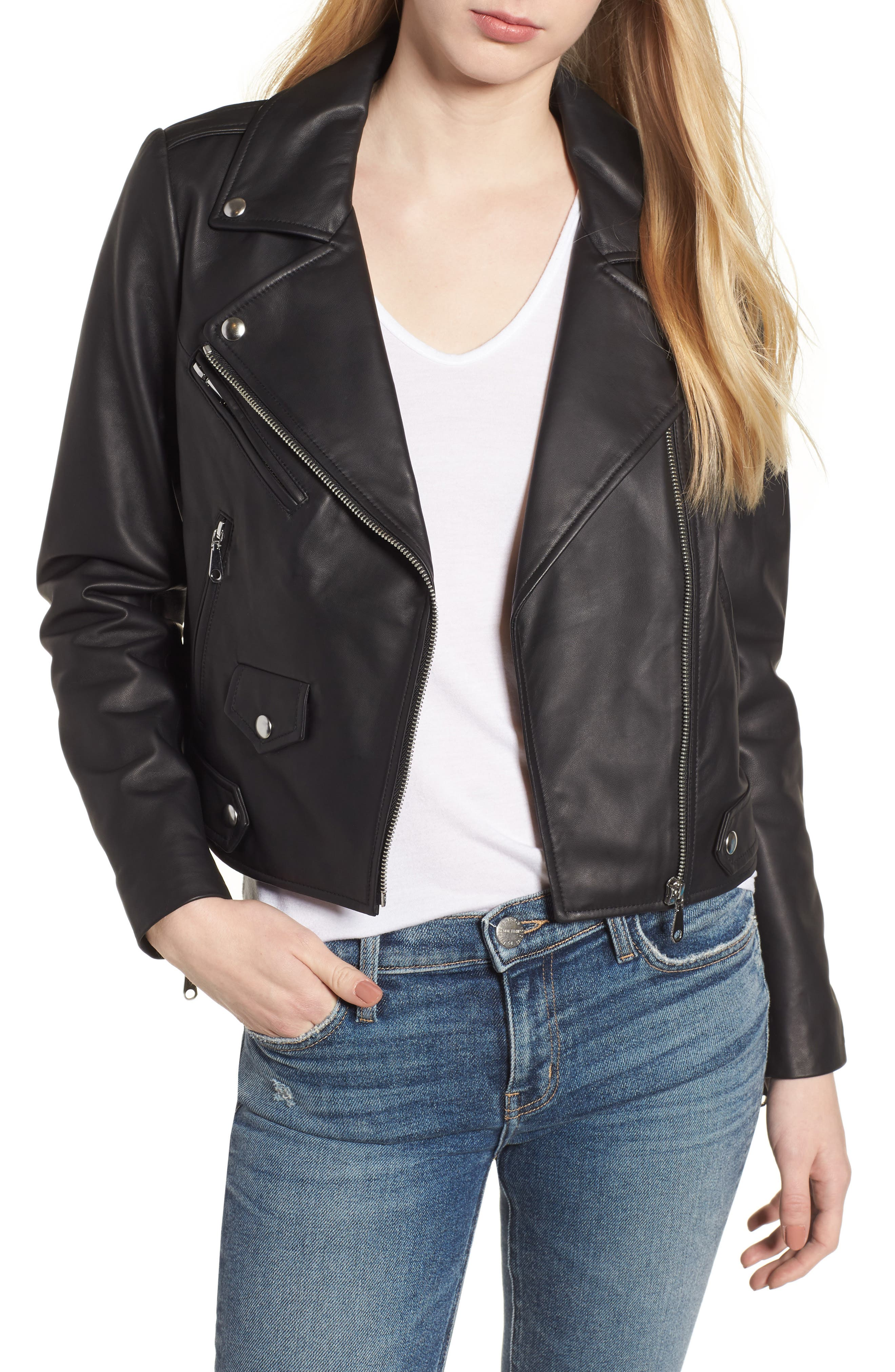 Wes Leather Moto Jacket,                         Main,                         color, 002