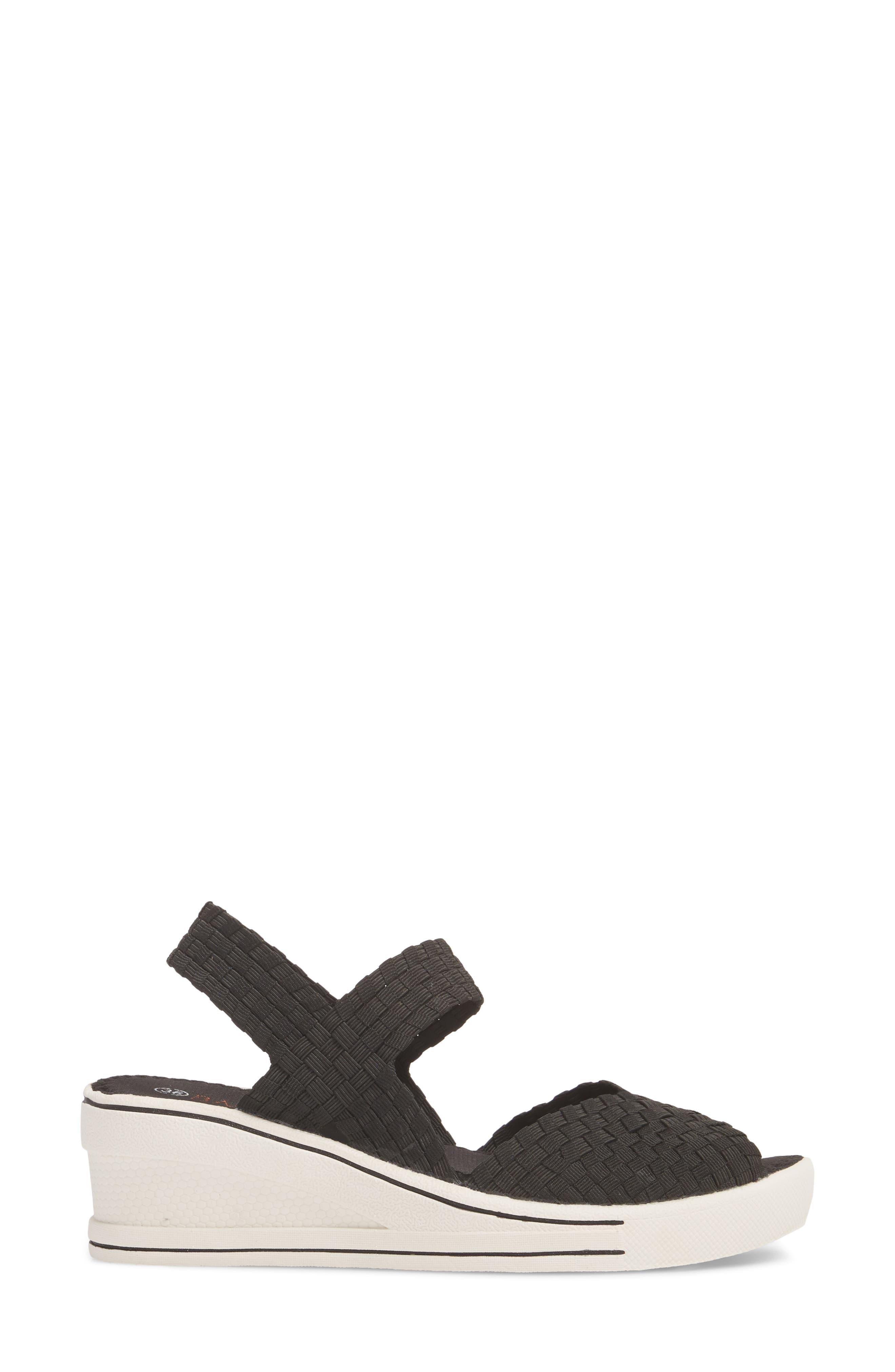 Lux Garden Sandal,                             Alternate thumbnail 3, color,                             BLACK FABRIC