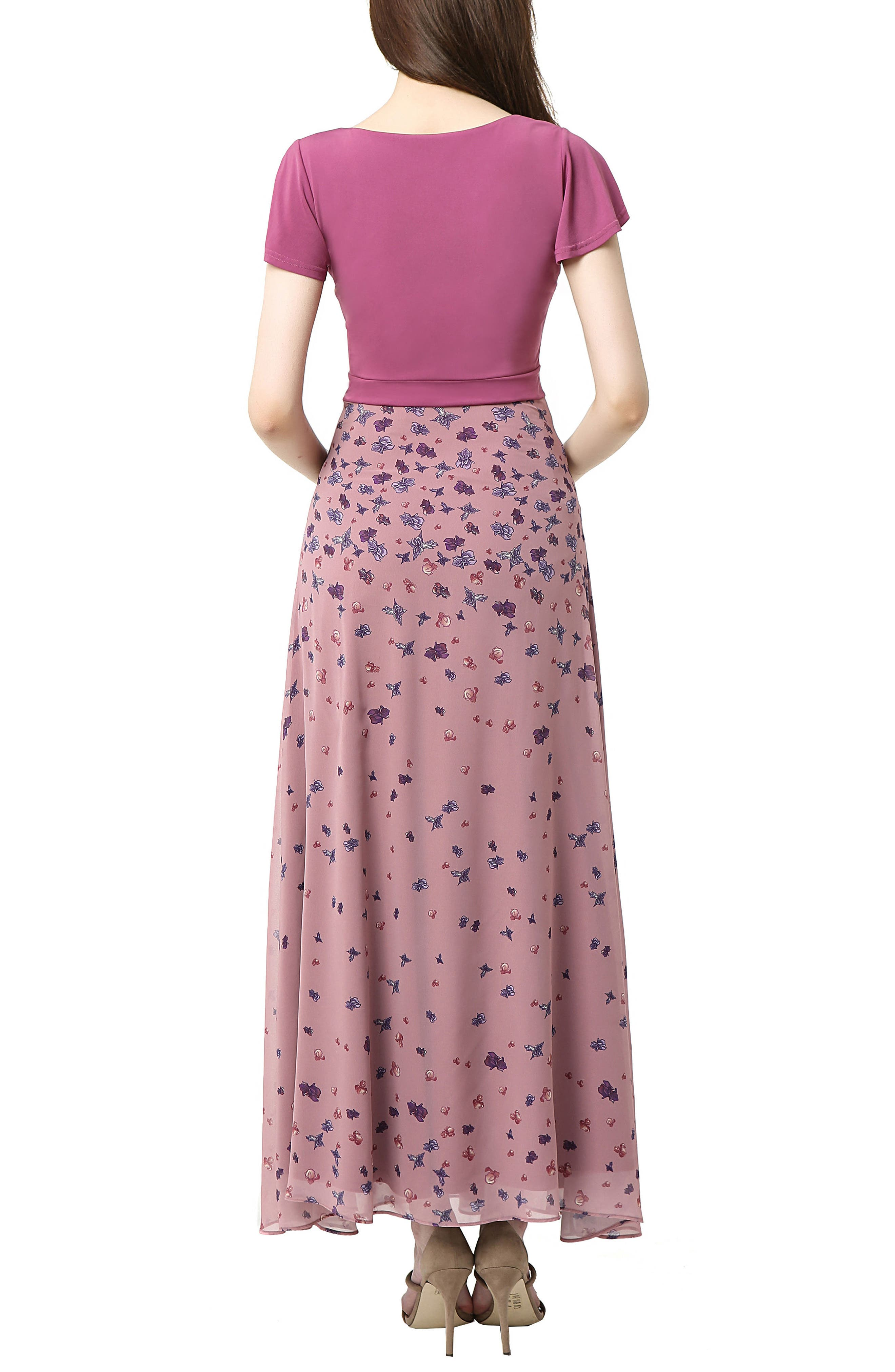Emma Flutter Sleeve Maternity Maxi Dress,                             Alternate thumbnail 2, color,