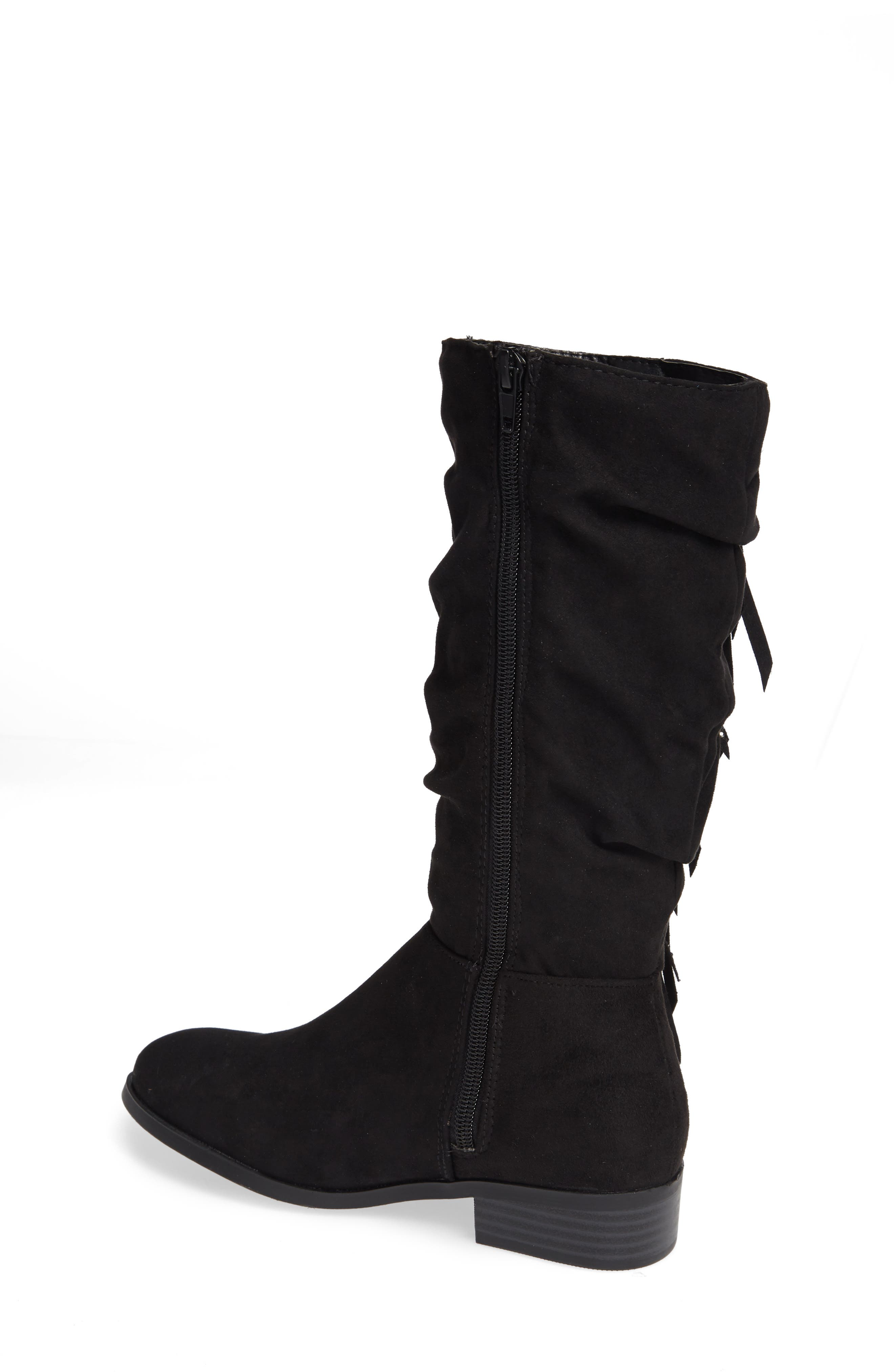 Jfringly Slouchy Fringed Boot,                             Alternate thumbnail 2, color,                             BLACK MICRO