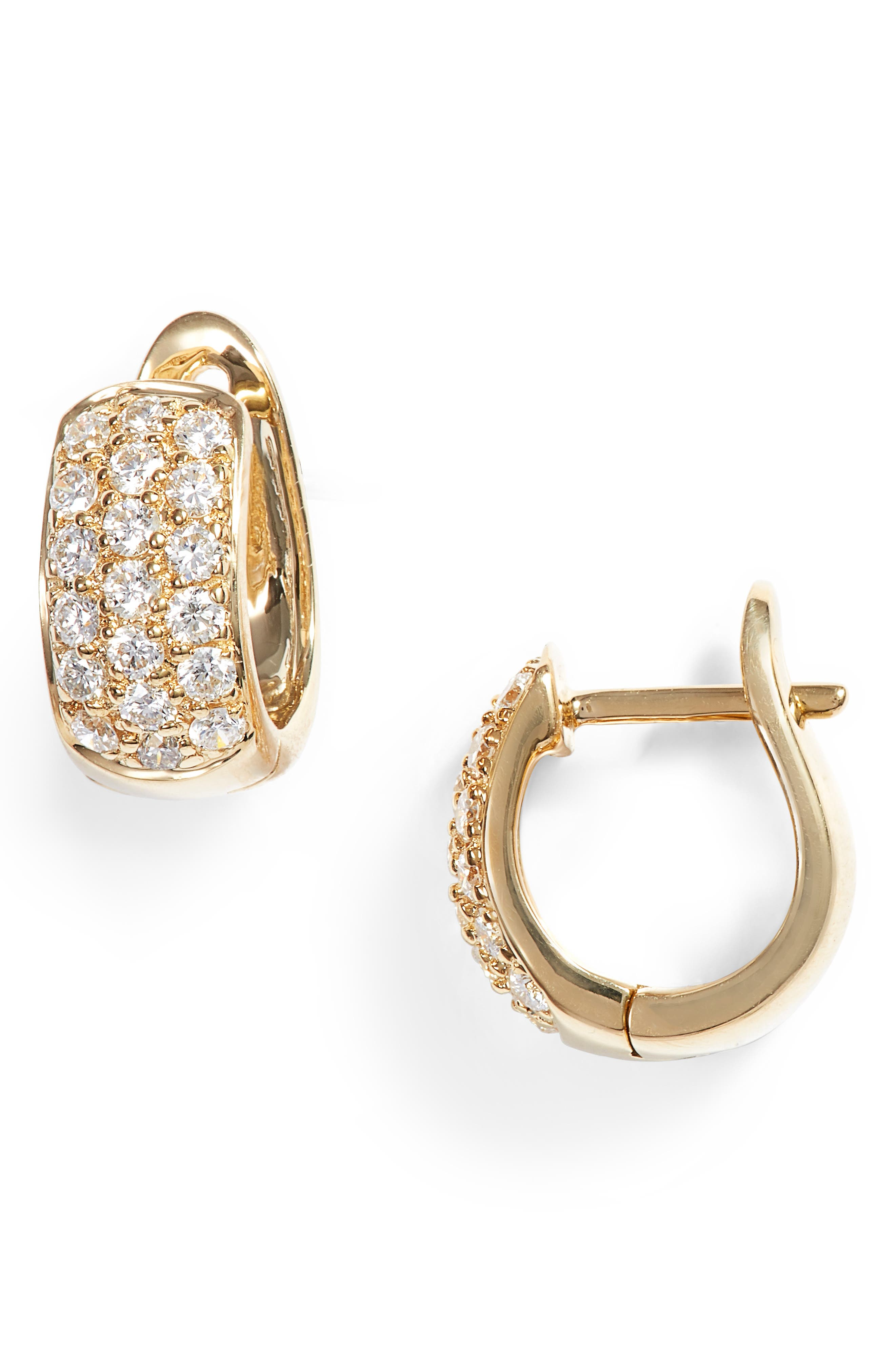 Dana Rebecca Mini Diamond Hoop Earrings,                             Main thumbnail 1, color,                             YELLOW GOLD