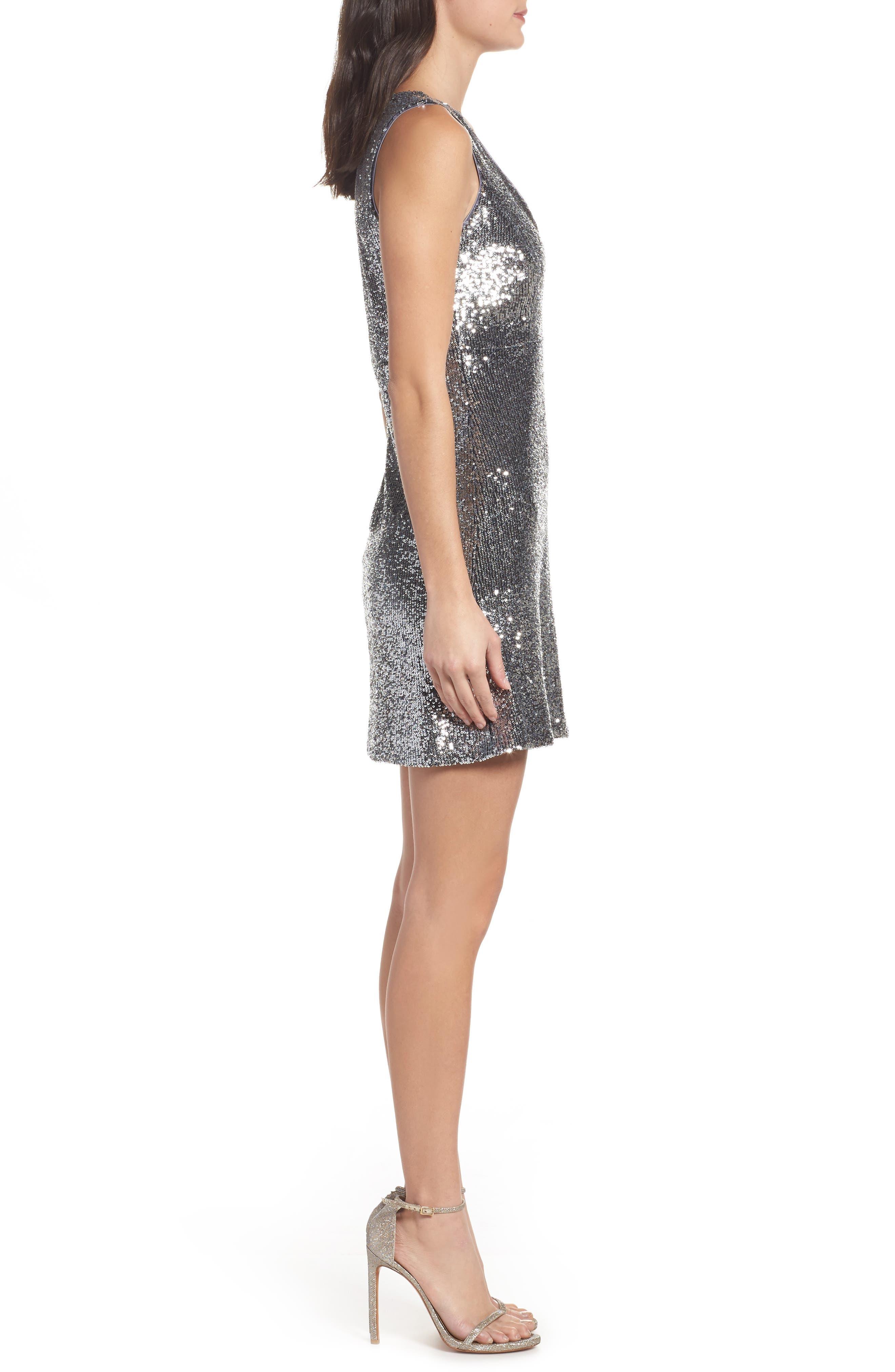 Sequin A-Line Dress,                             Alternate thumbnail 3, color,