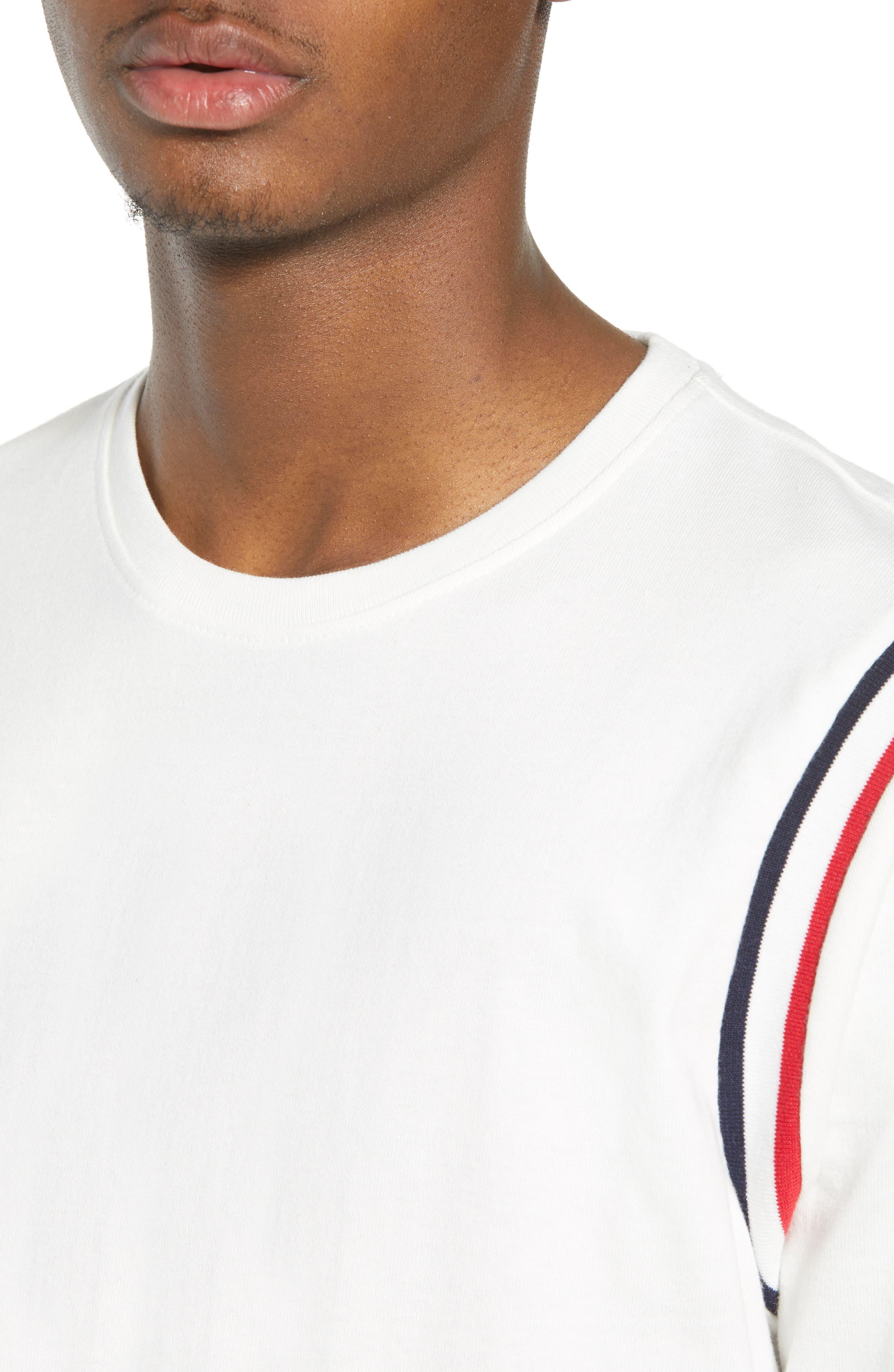 Ribbed Stripe T-Shirt,                             Alternate thumbnail 4, color,                             100