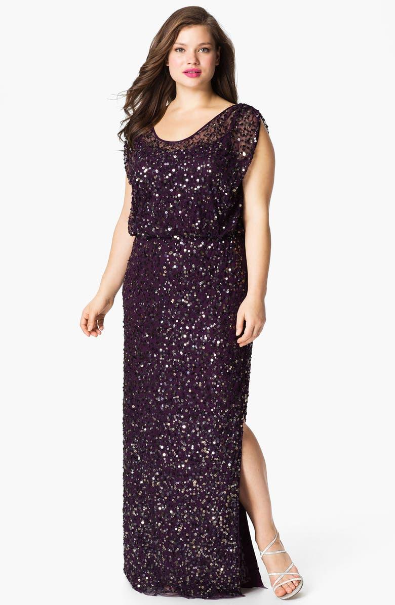 e7665320 JS Collections Blouson Bodice Sequin Mesh Gown (Plus) | Nordstrom