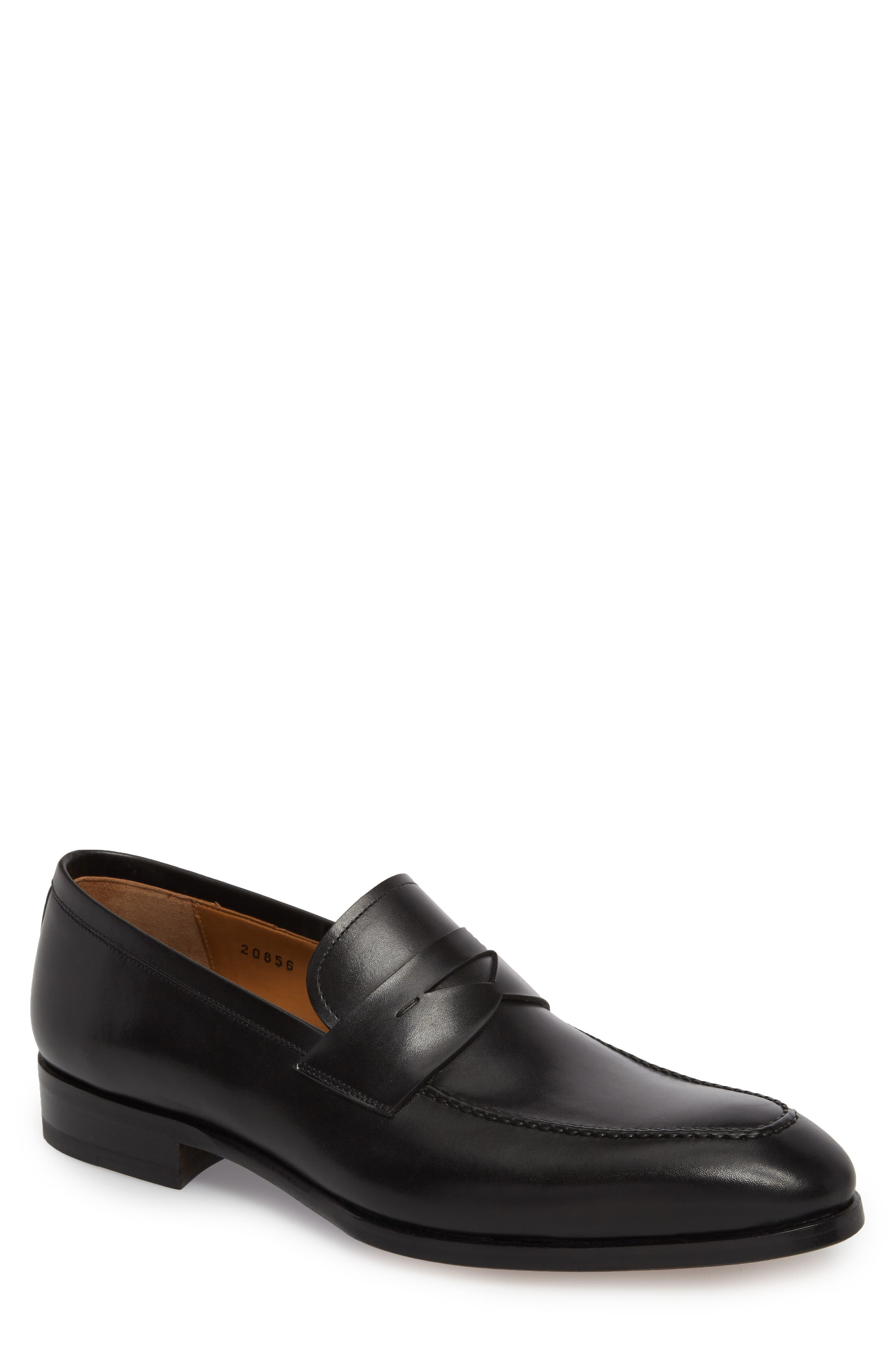 Rolly Apron Toe Penny Loafer,                             Main thumbnail 1, color,                             BLACK LEATHER
