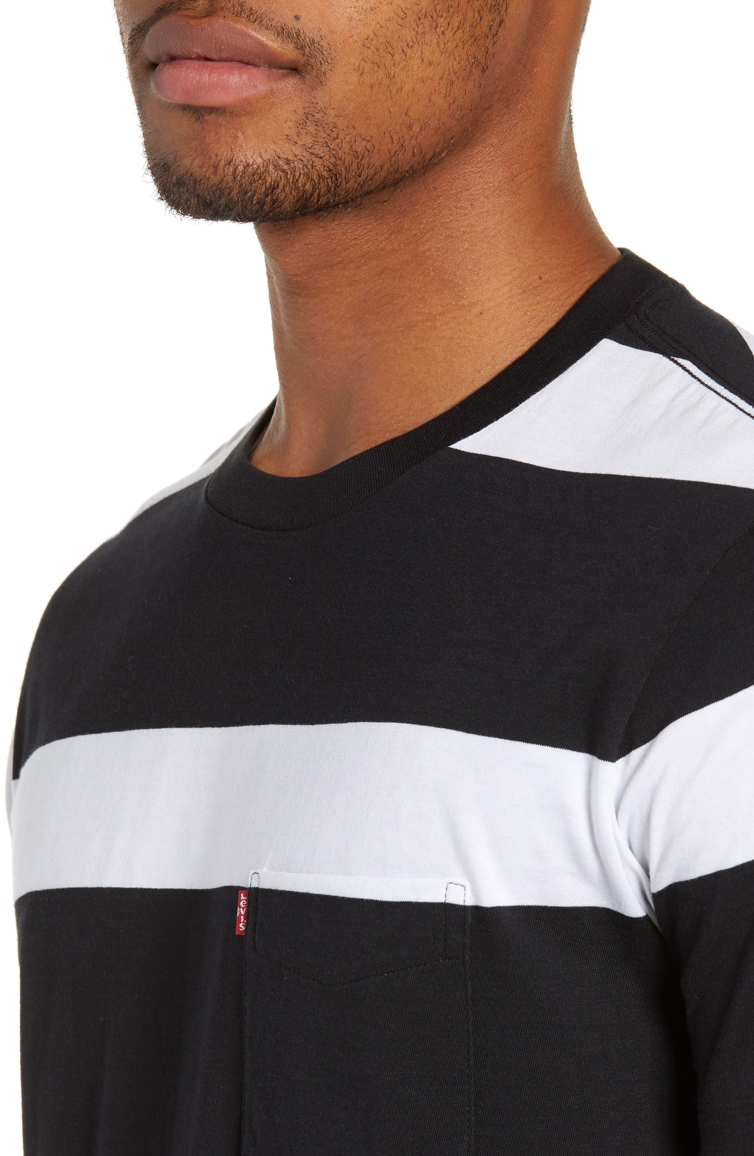 Pocket T-Shirt,                             Alternate thumbnail 4, color,                             BLACK/ WHITE STRIPES