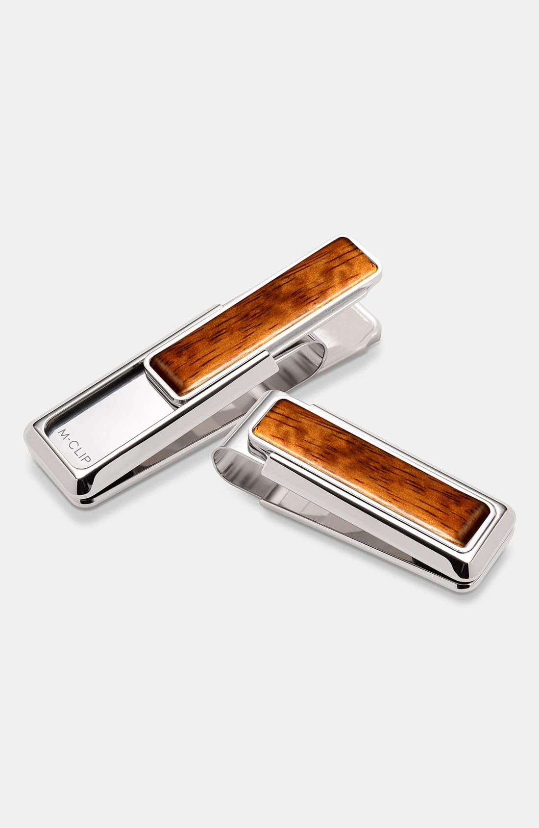 Wood Inlay Money Clip,                         Main,                         color, BUBINGA WOOD