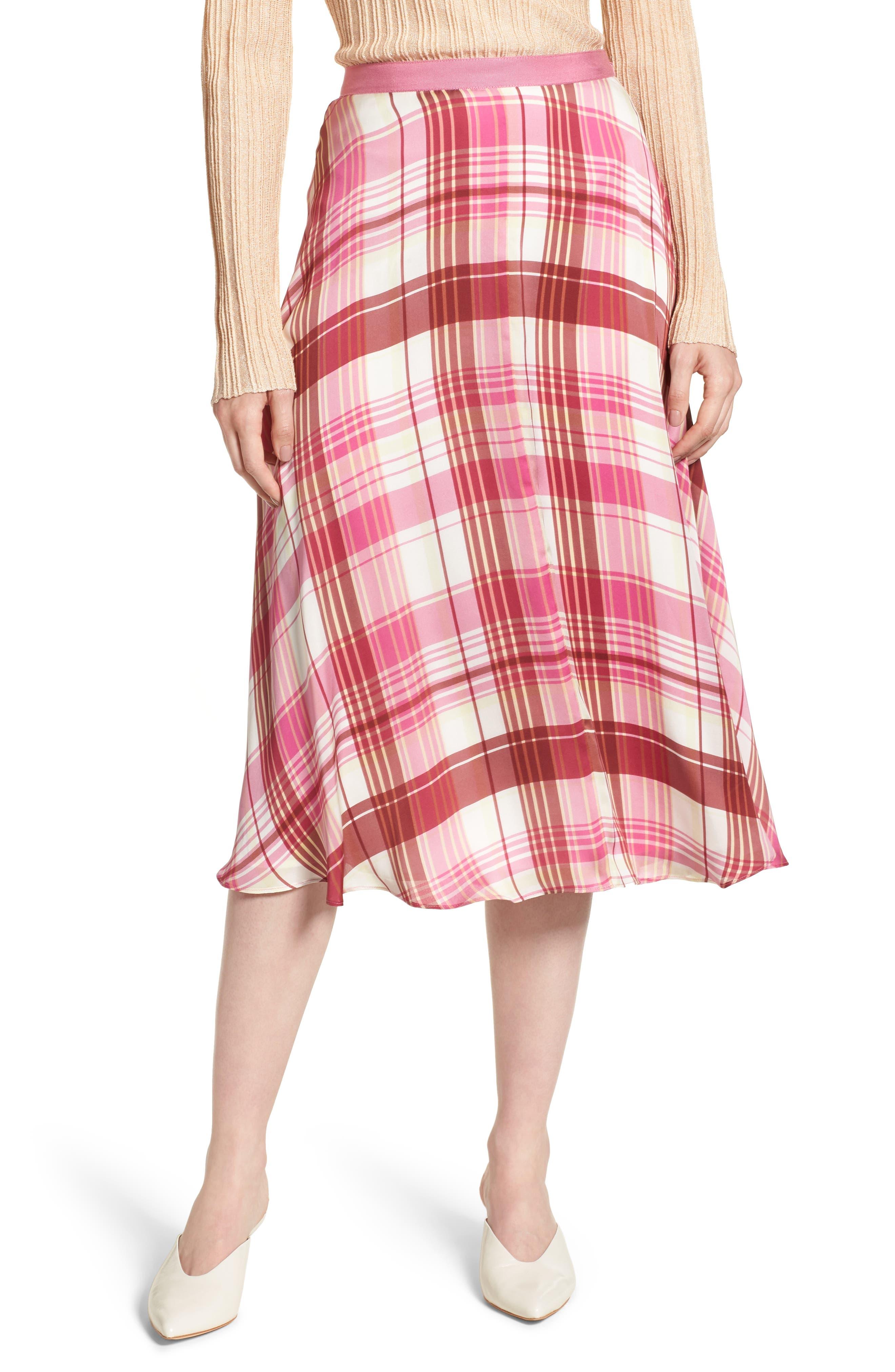 Plaid Silk Skirt,                         Main,                         color, PINK PHLOX LARA PLAID
