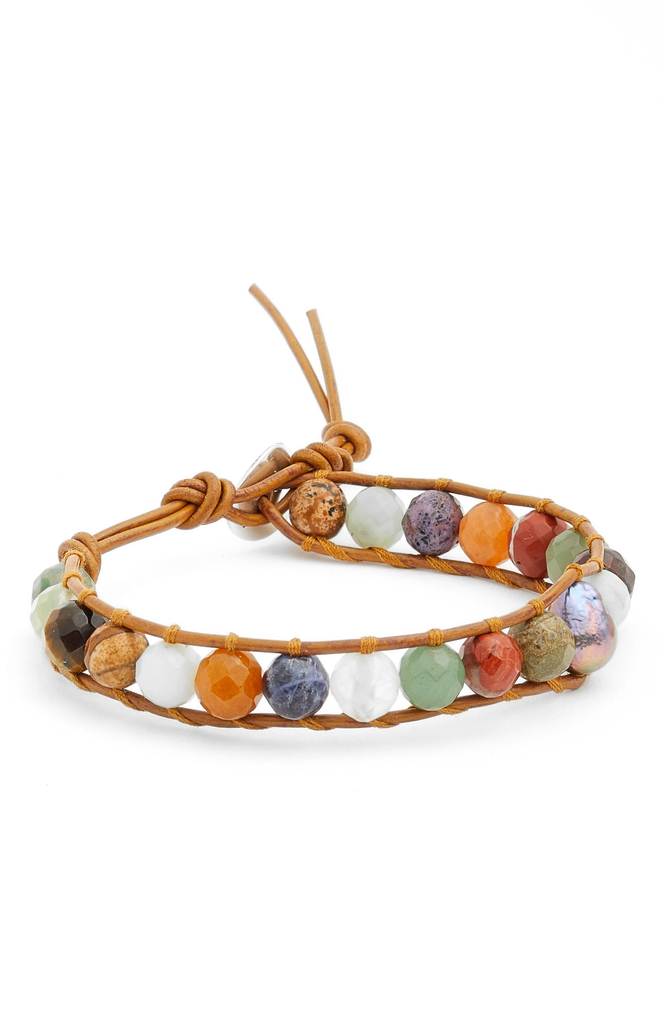 Stone & Pearl Leather Bracelet,                             Main thumbnail 1, color,                             BROWN MULTI