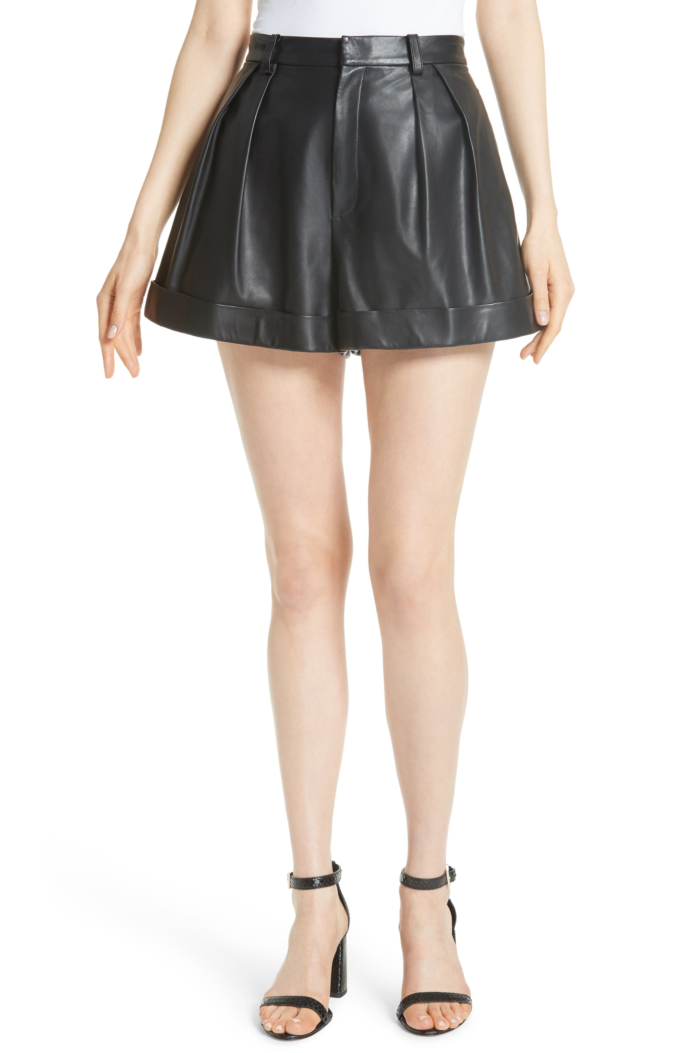 Conry Leather Pleated Cuff Shorts,                         Main,                         color, BLACK