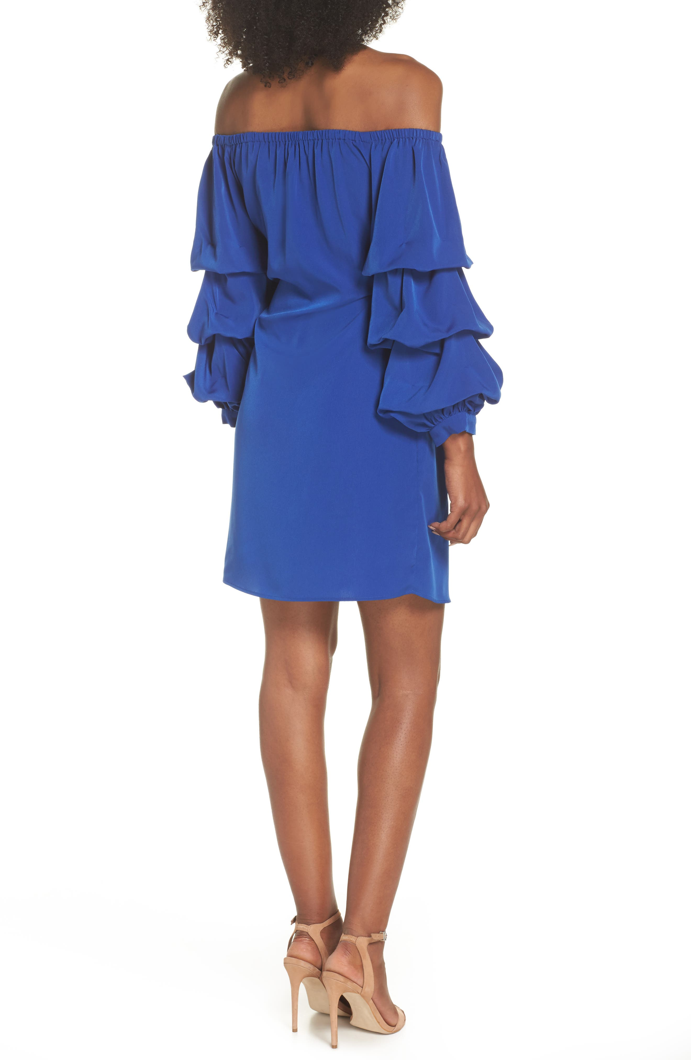 Off the Shoulder Tiered Sleeve Dress,                             Alternate thumbnail 5, color,