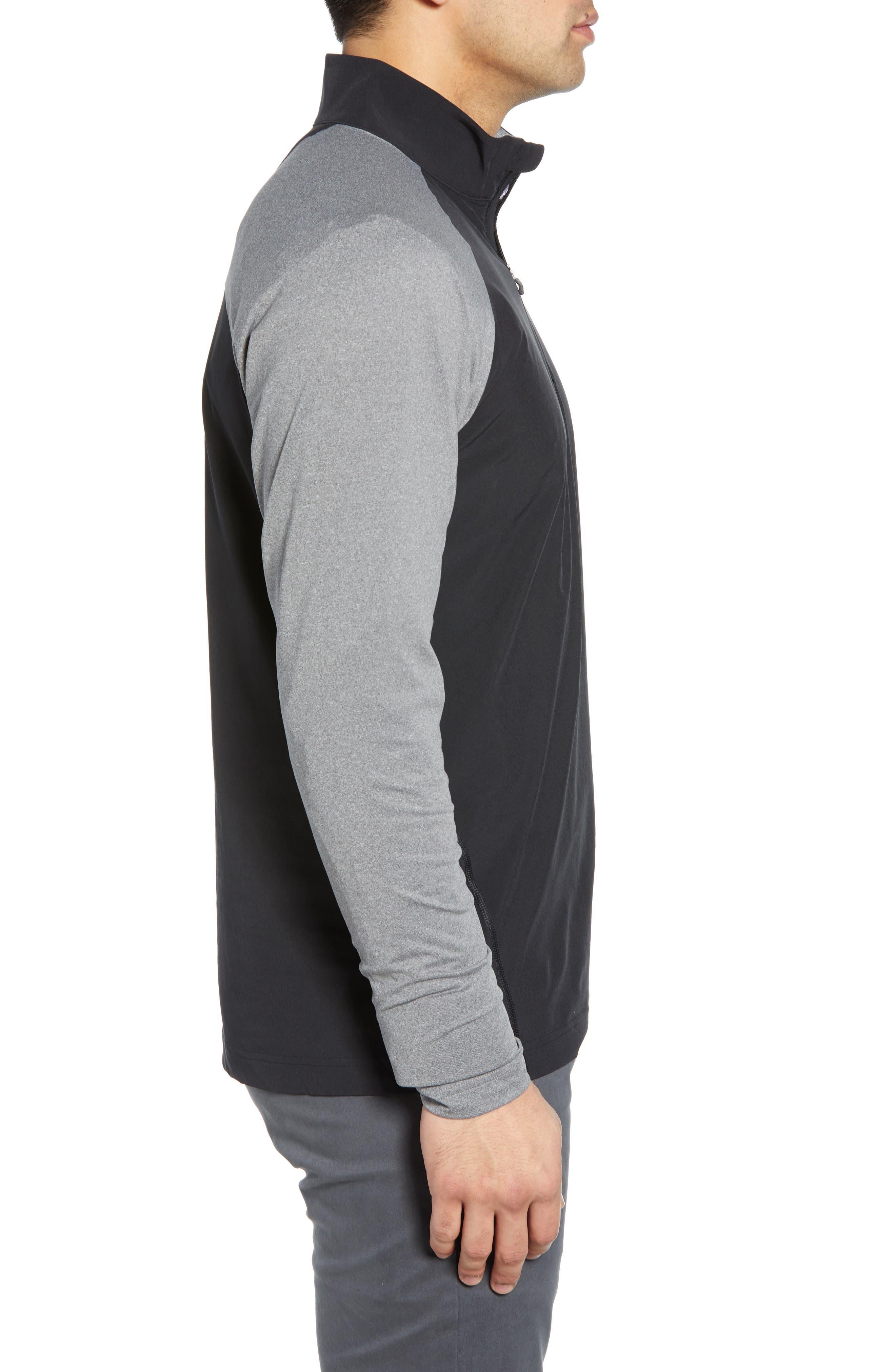Response Hybrid Overknit Quarter Zip Pullover,                             Alternate thumbnail 3, color,                             BLACK