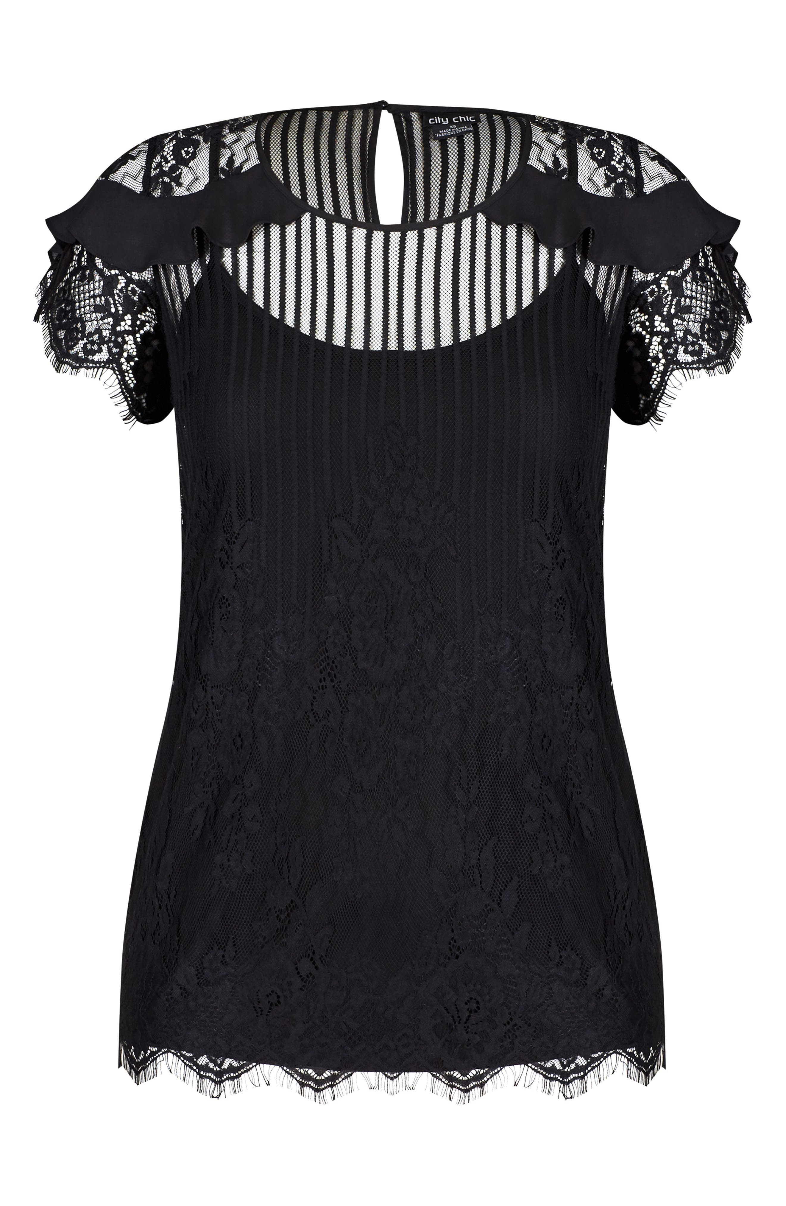 Ruffle Stripe Lace Top,                             Alternate thumbnail 3, color,                             BLACK